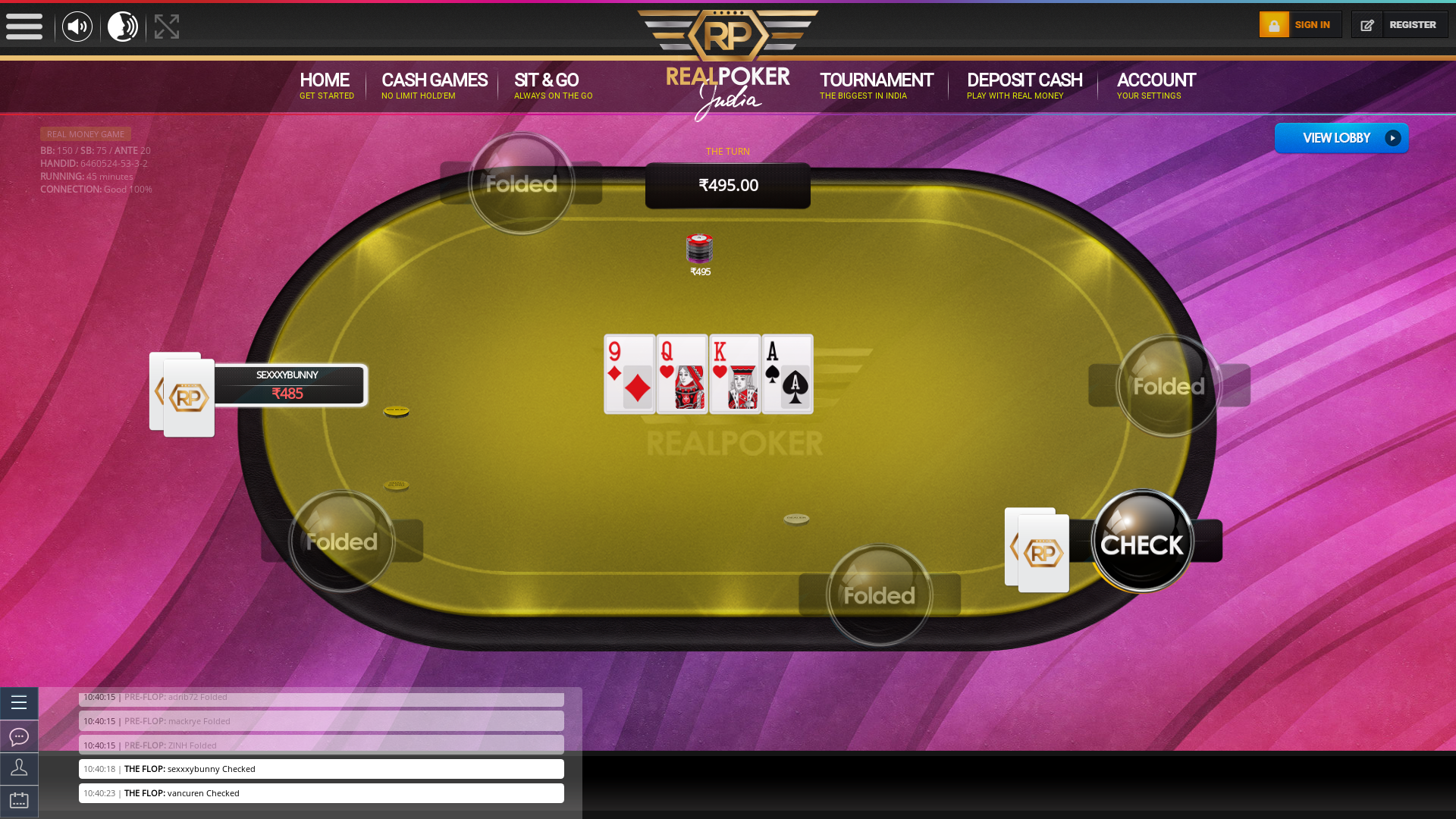 10 player poker in the 45th minute