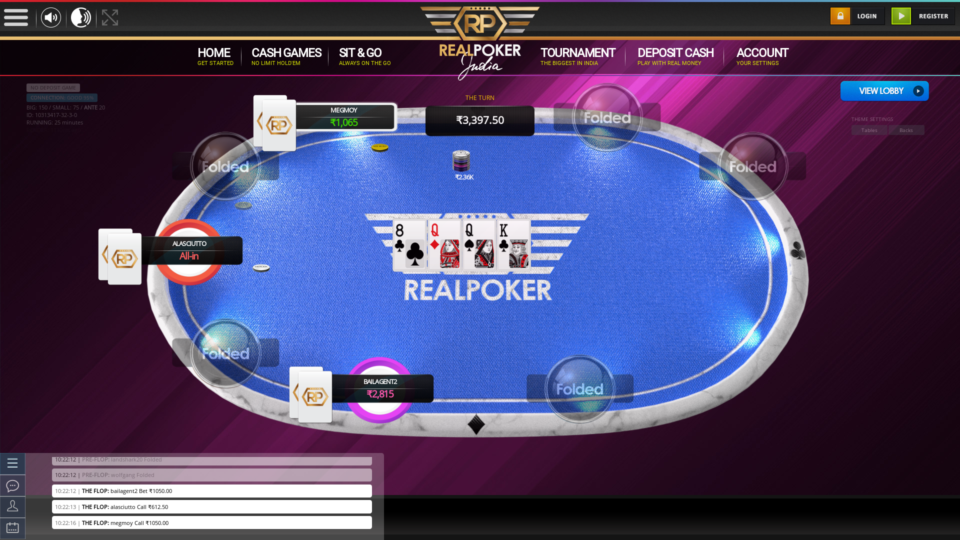 10 player texas holdem table at real poker with the table id 10313417