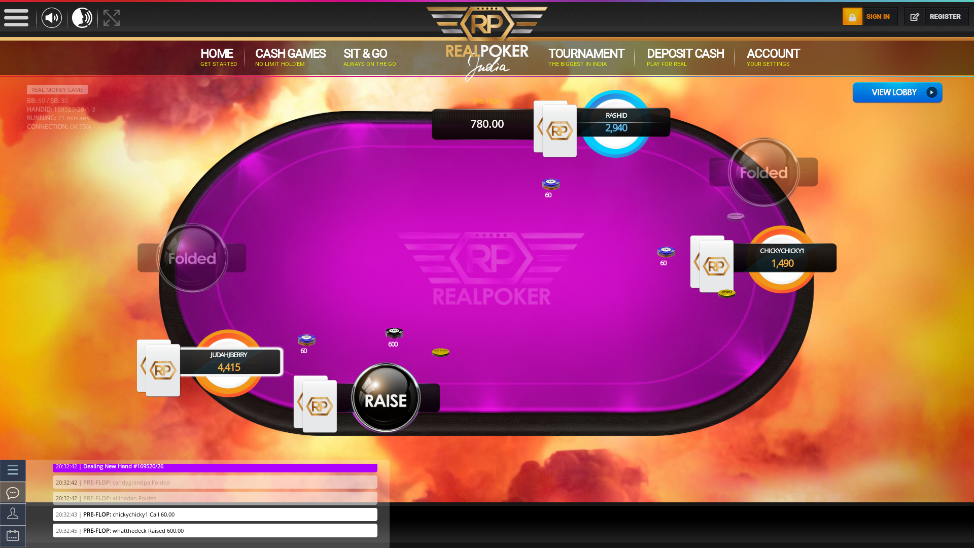 10 player texas holdem table at real poker with the table id 169520
