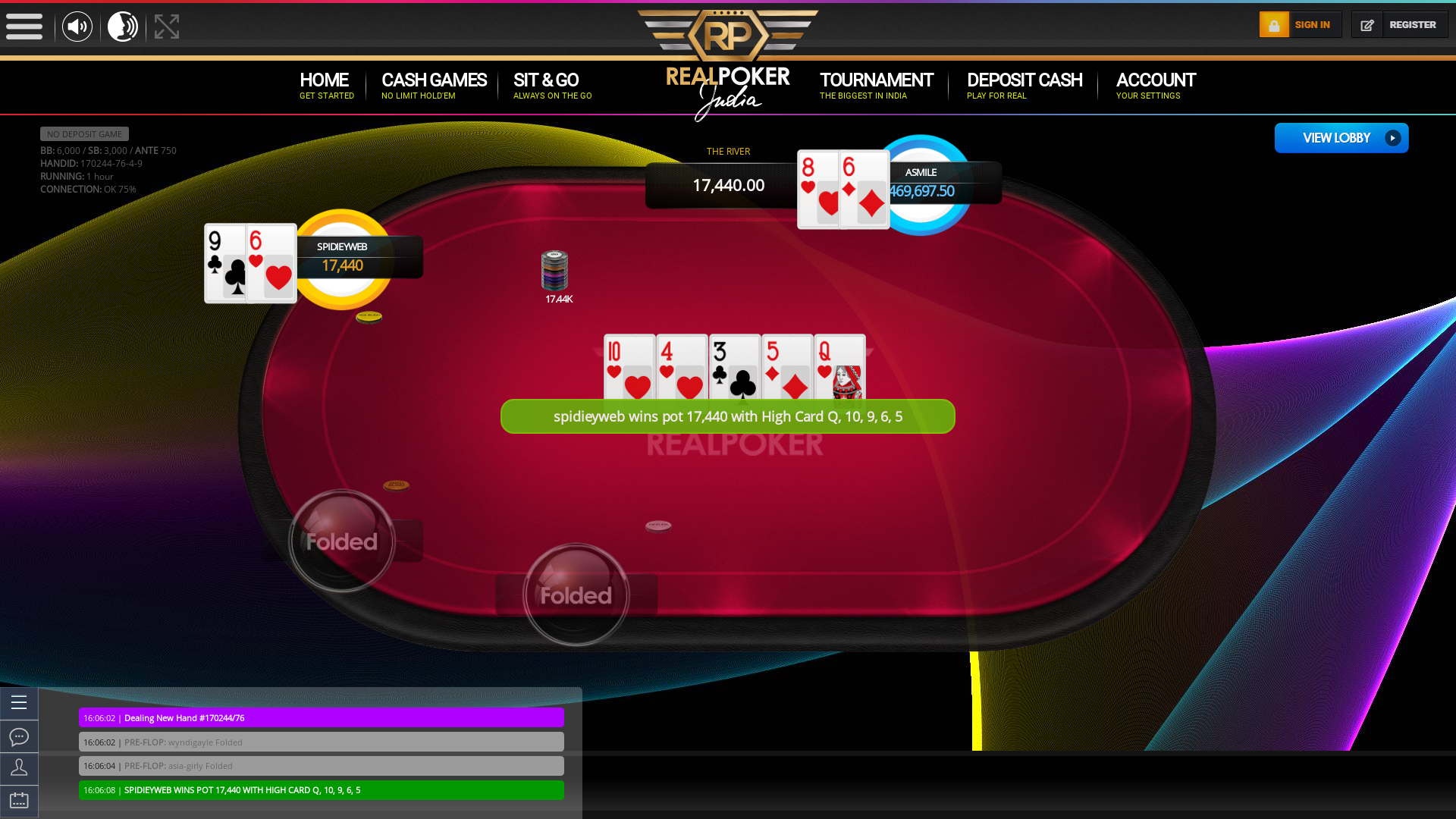 10 player texas holdem table at real poker with the table id 170244