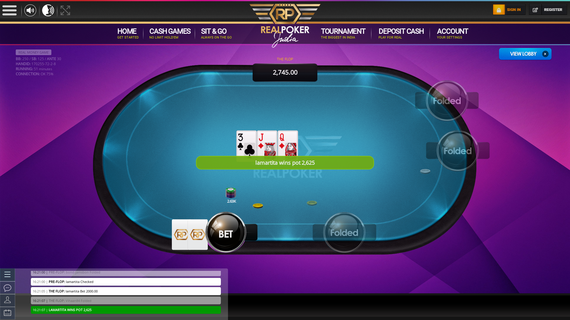 10 player texas holdem table at real poker with the table id 170255