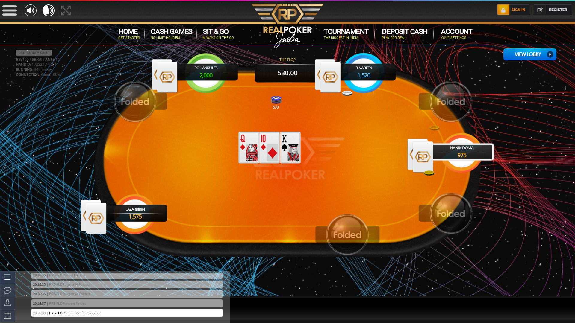 10 player texas holdem table at real poker with the table id 172521
