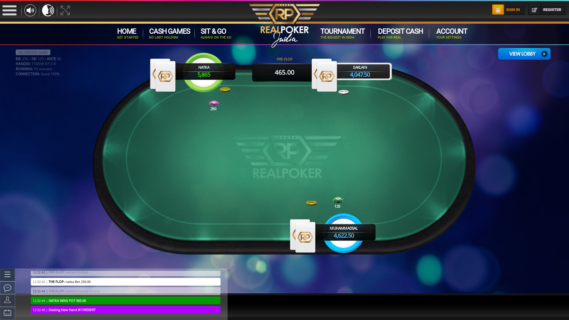 10 player texas holdem table at real poker with the table id 174559