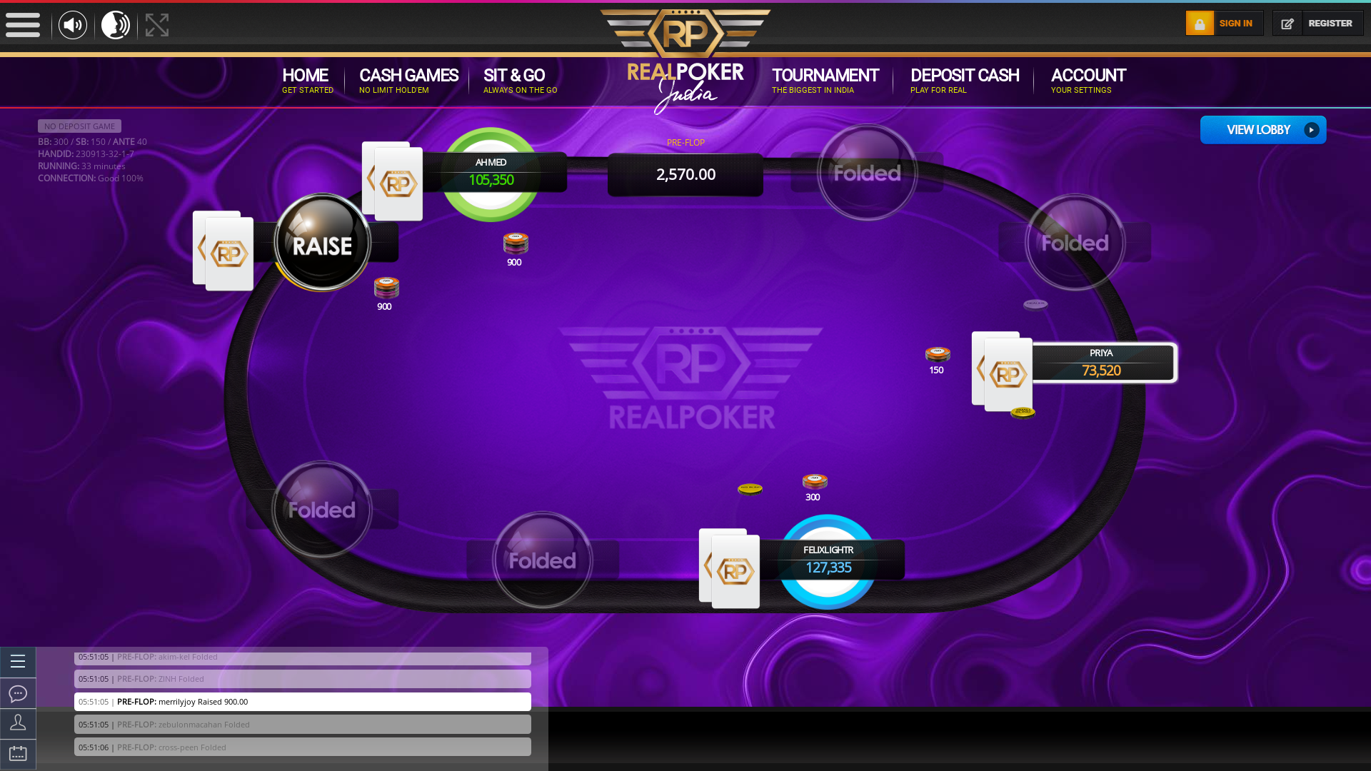 10 player texas holdem table at real poker with the table id 230913