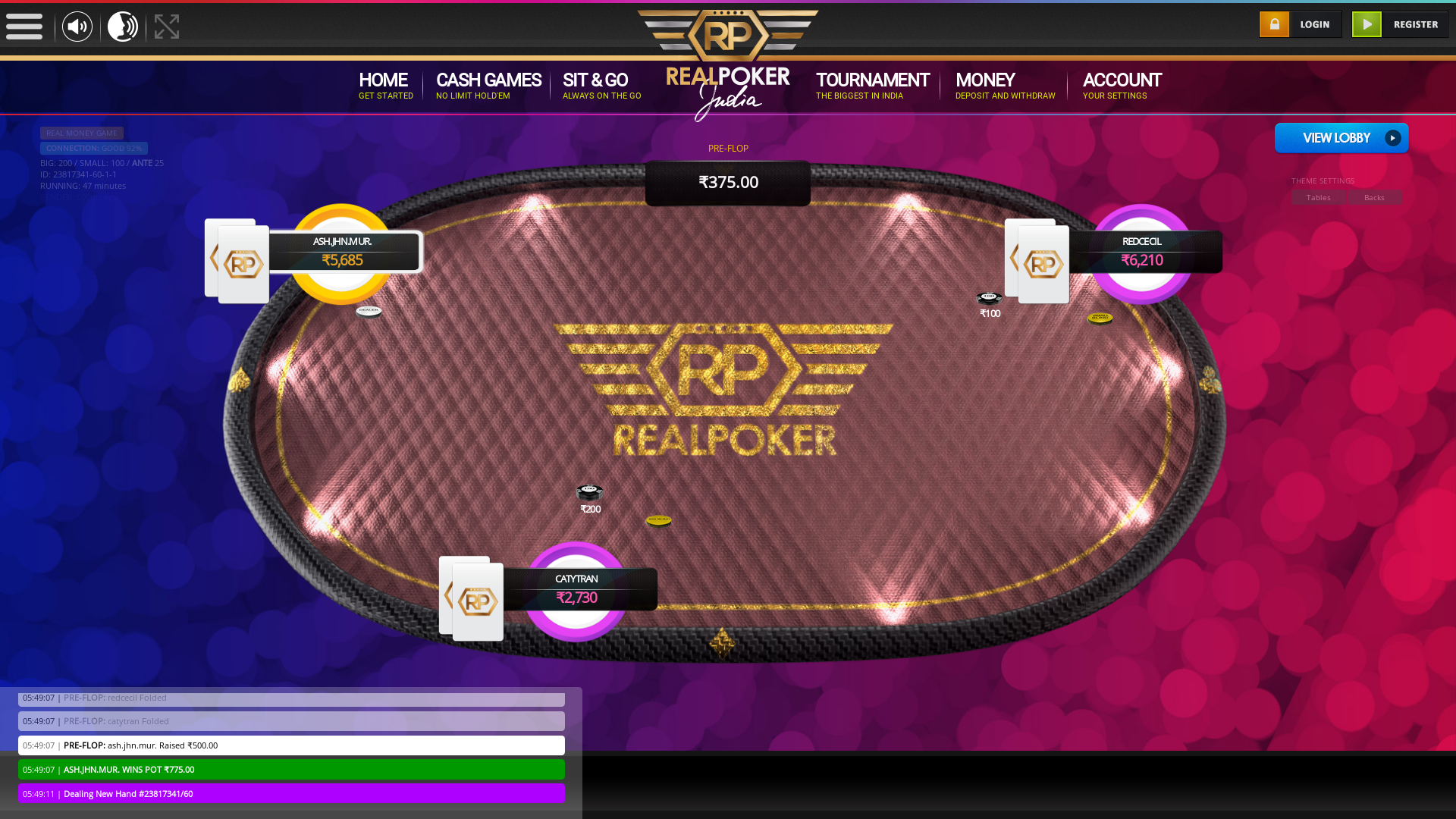 10 player texas holdem table at real poker with the table id 23817341