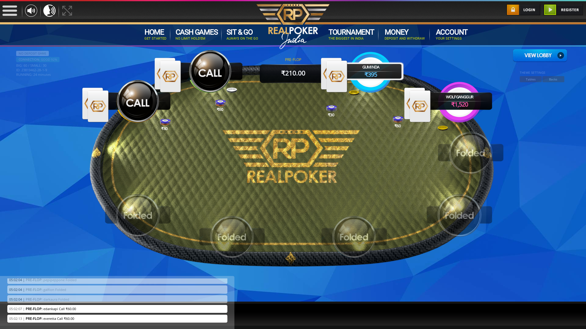 10 player texas holdem table at real poker with the table id 23819462