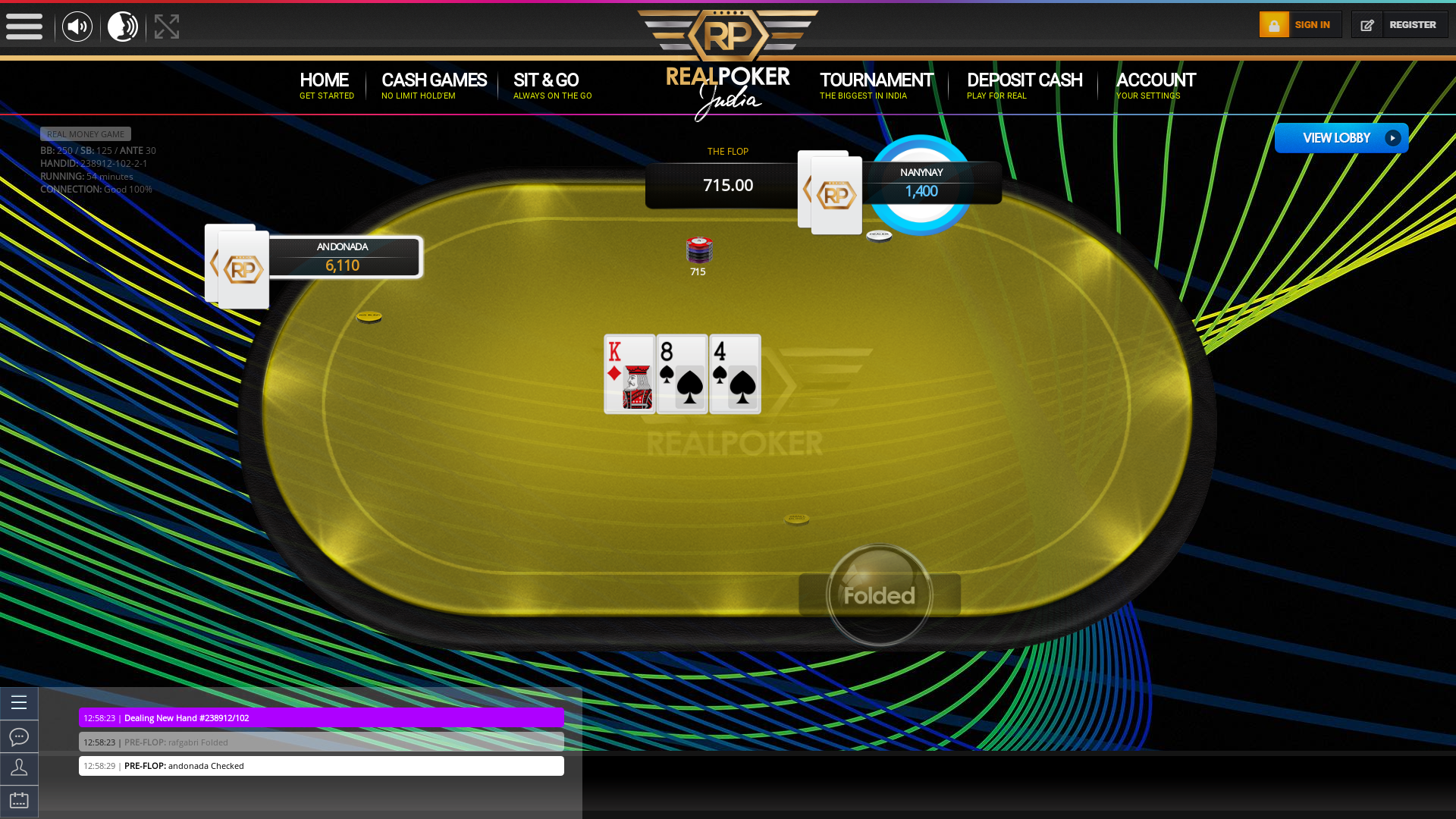 10 player texas holdem table at real poker with the table id 238912