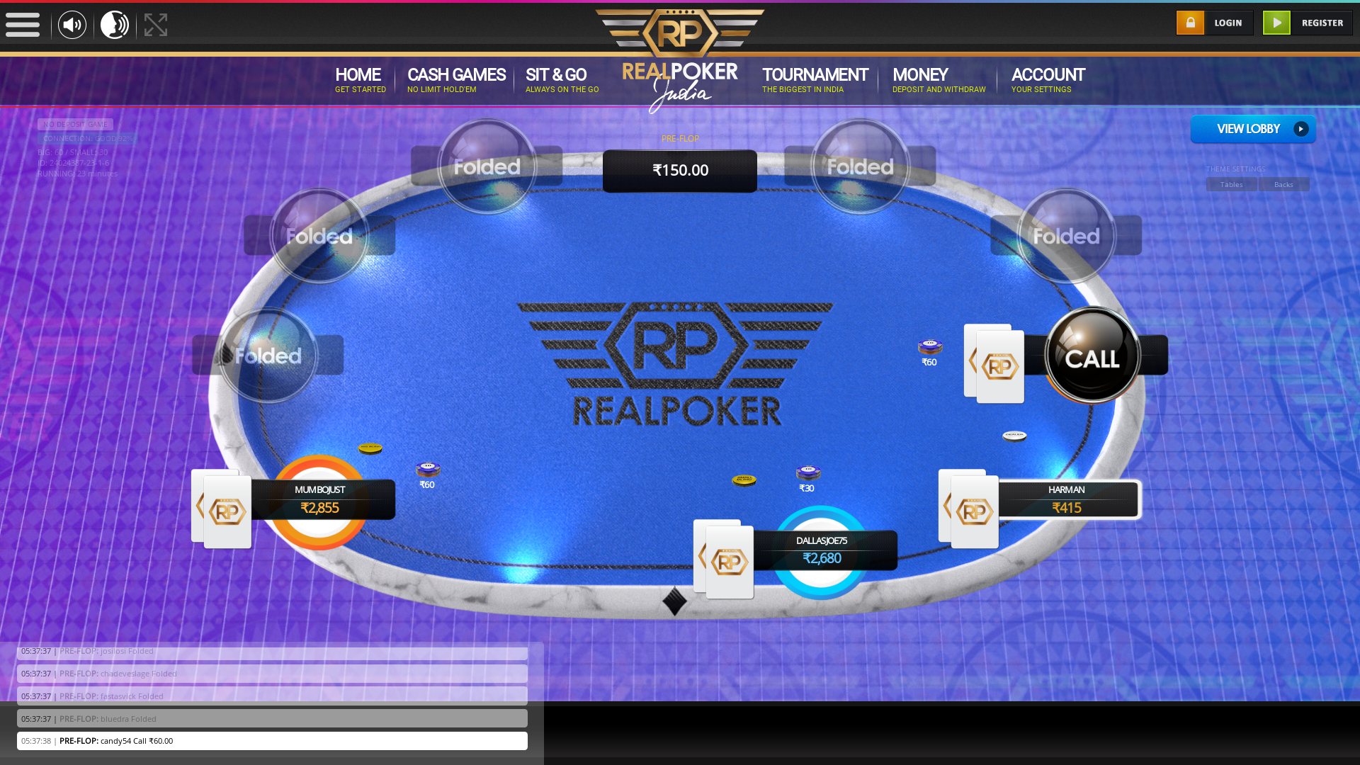 10 player texas holdem table at real poker with the table id 24024387
