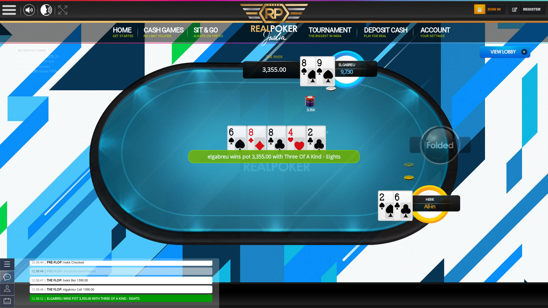 10 player texas holdem table at real poker with the table id 260887