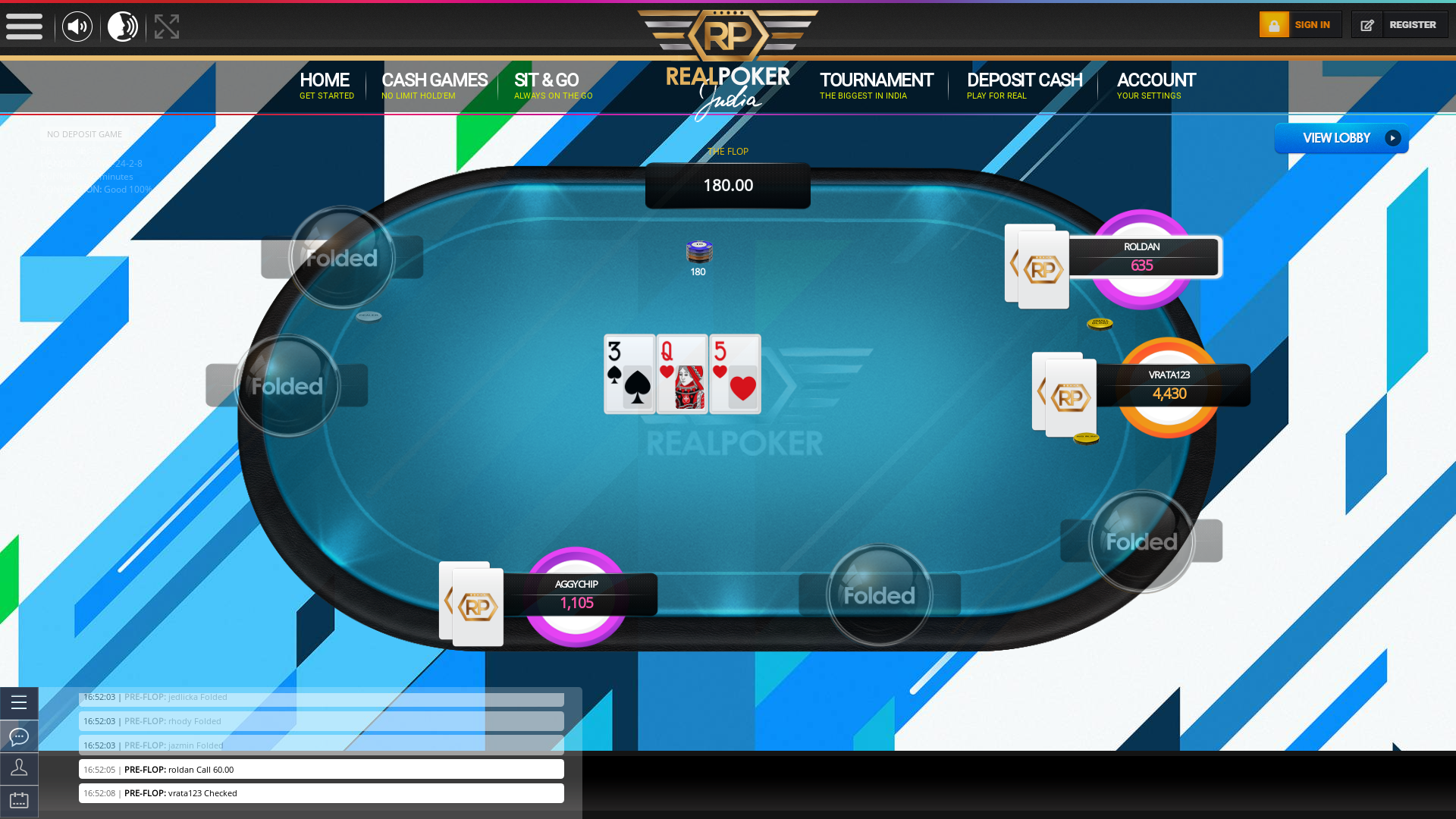 10 player texas holdem table at real poker with the table id 261092