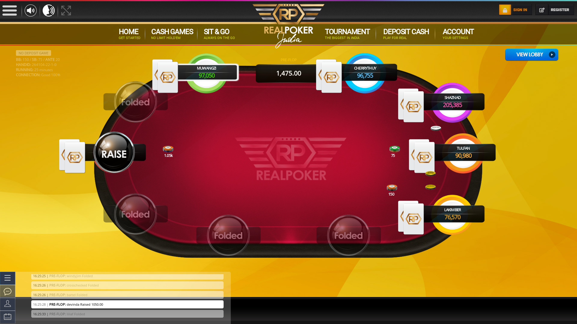 10 player texas holdem table at real poker with the table id 264104