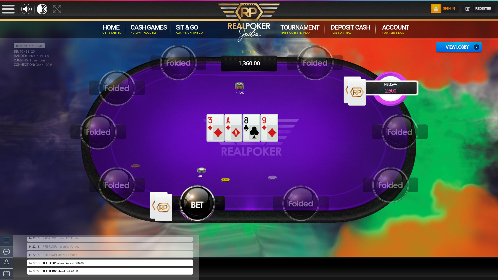 10 player texas holdem table at real poker with the table id 266906