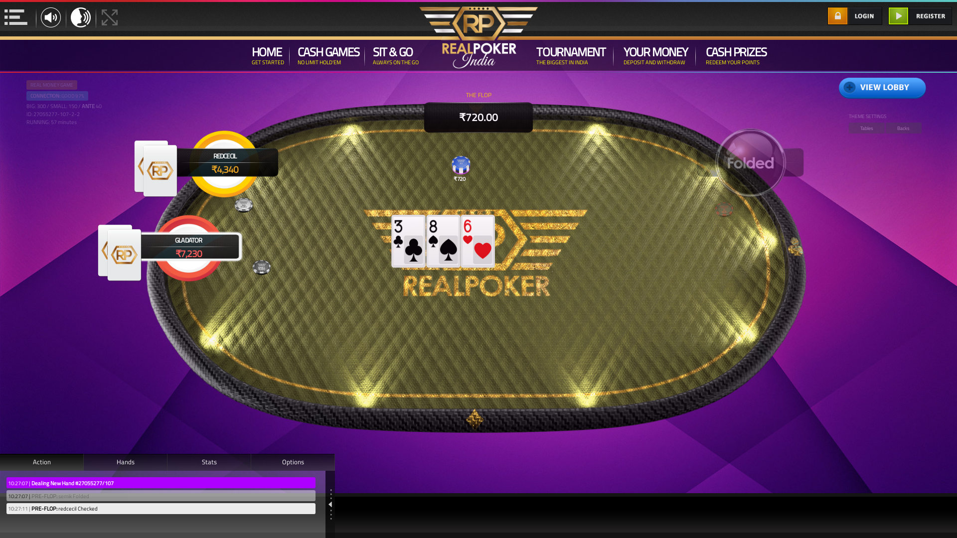 10 player texas holdem table at real poker with the table id 27055277