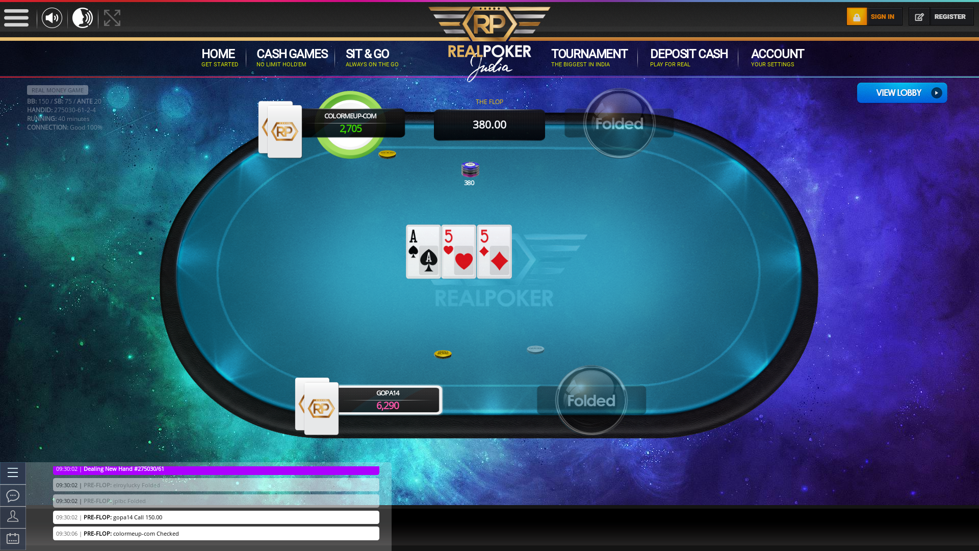 10 player texas holdem table at real poker with the table id 275030