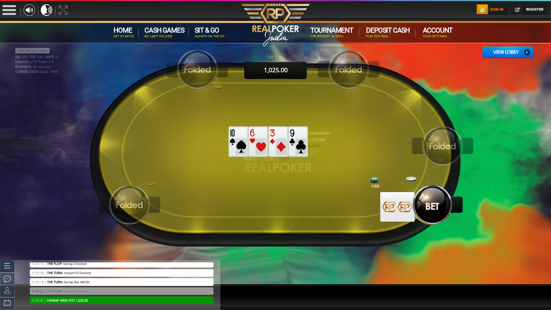 10 player texas holdem table at real poker with the table id 275119