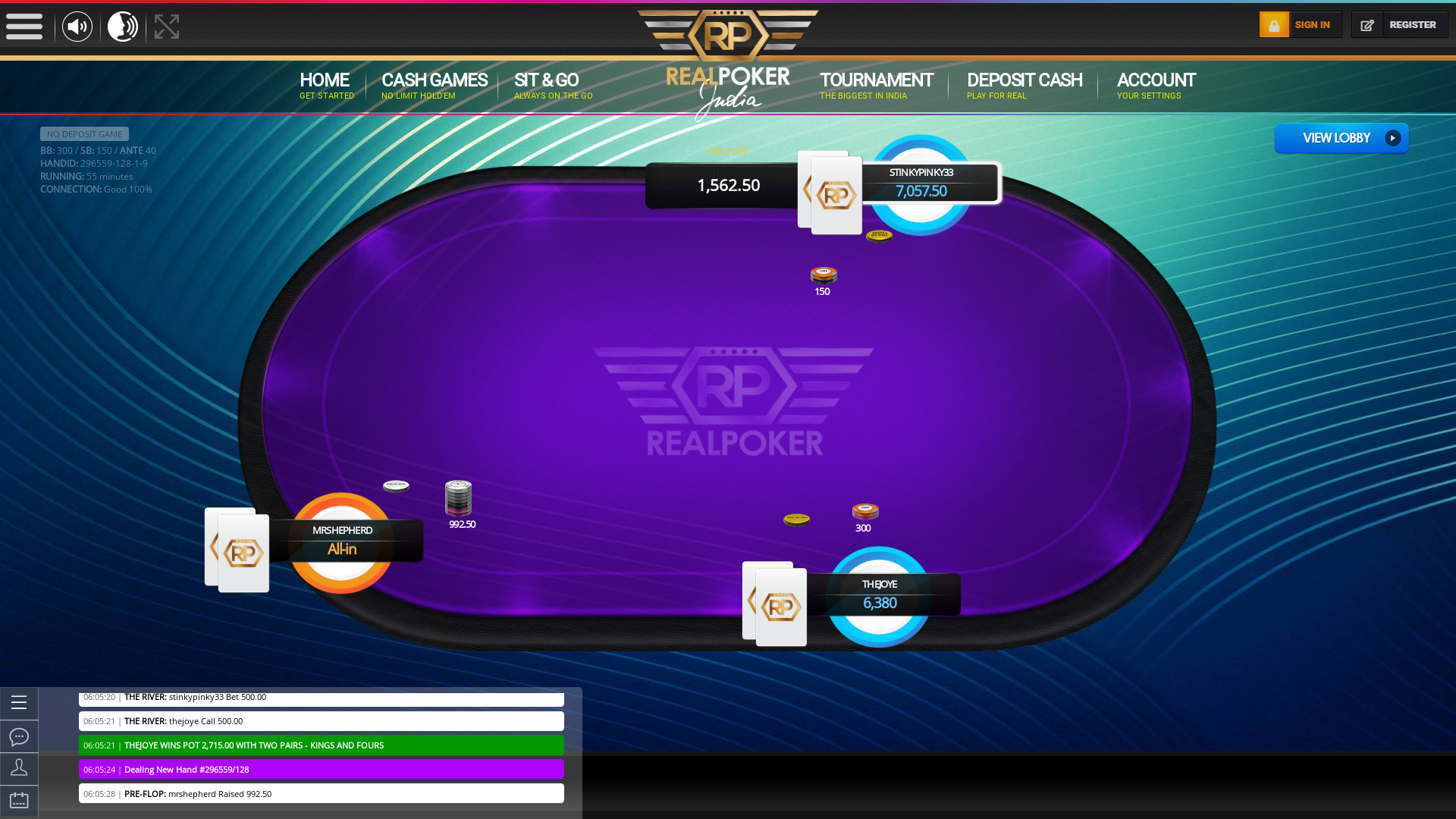 10 player texas holdem table at real poker with the table id 296559
