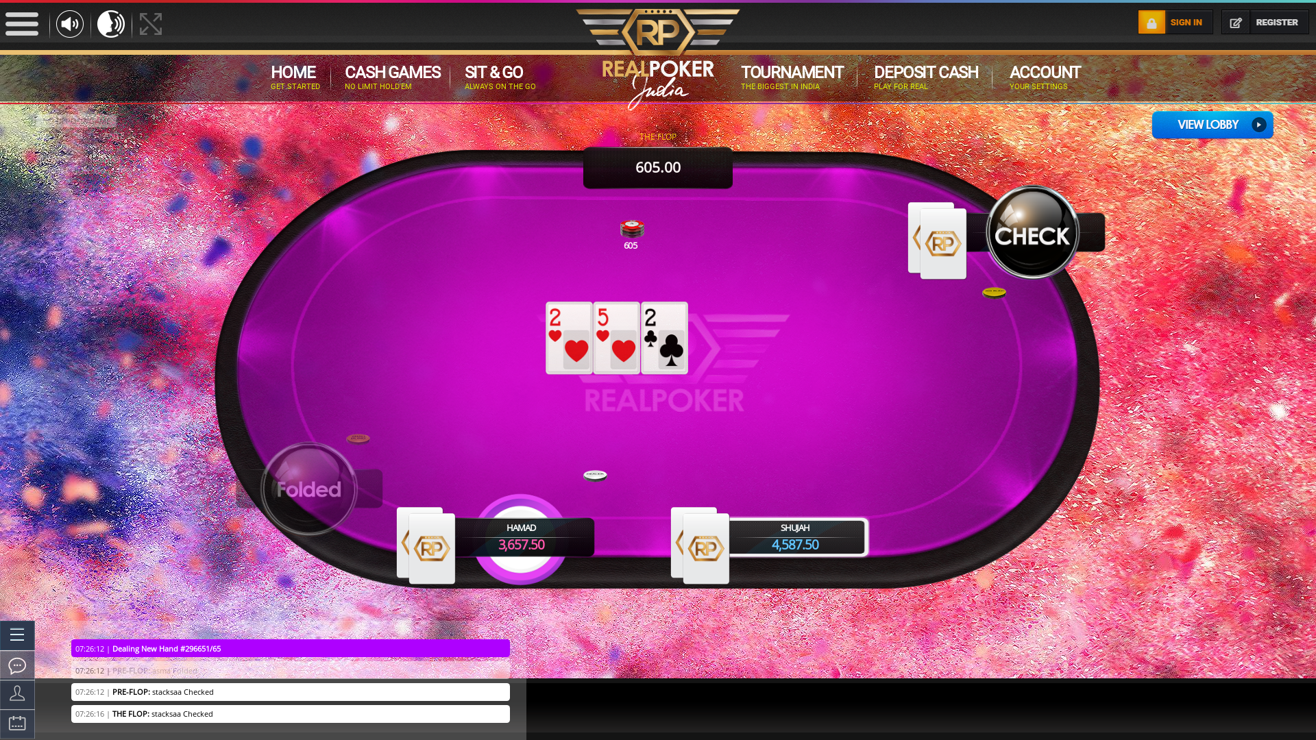 10 player texas holdem table at real poker with the table id 296651