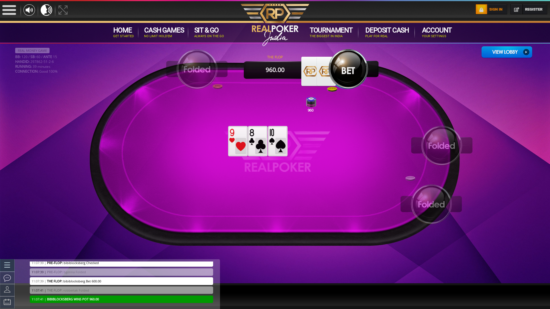 10 player texas holdem table at real poker with the table id 297862