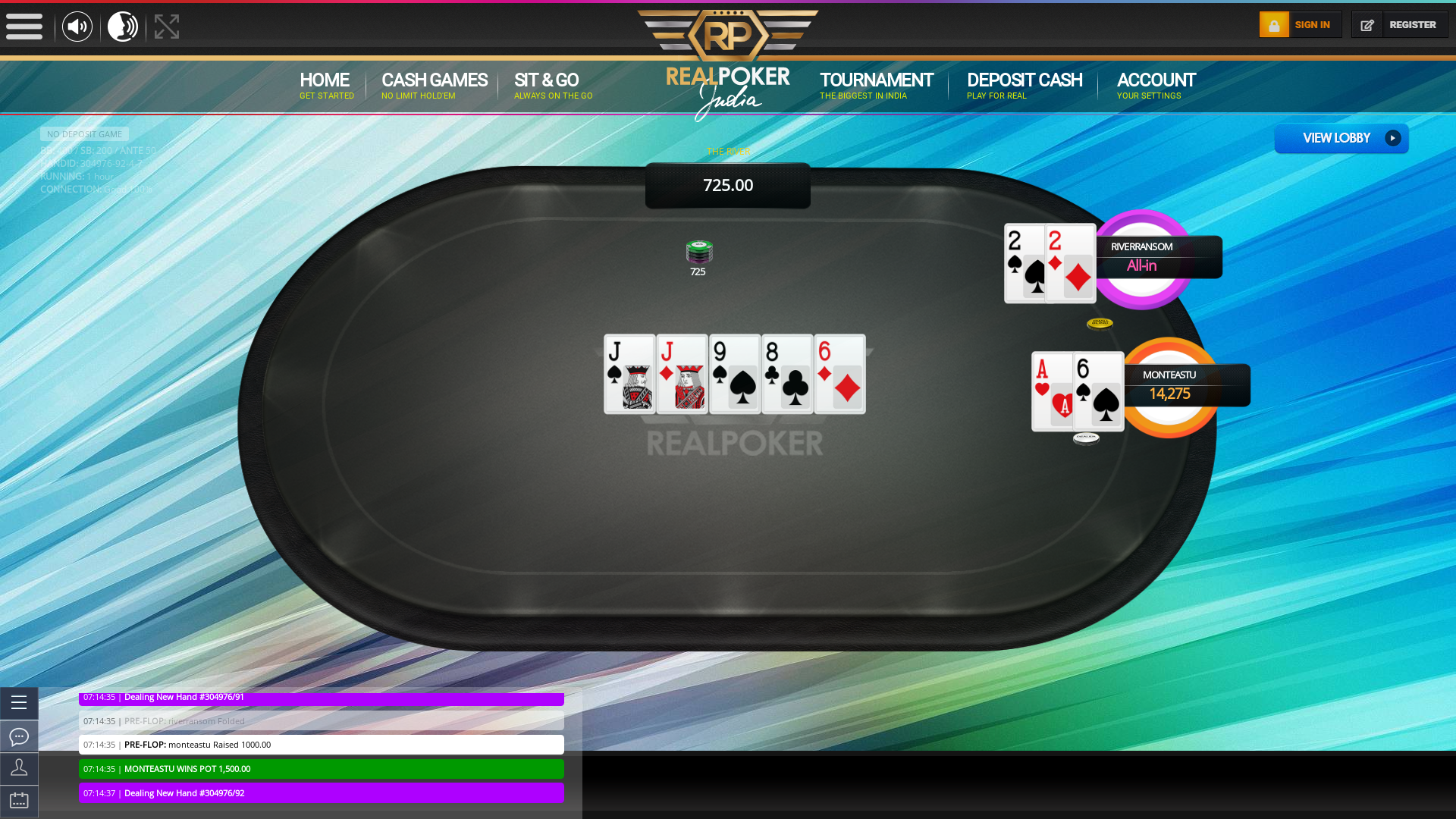 10 player texas holdem table at real poker with the table id 304976