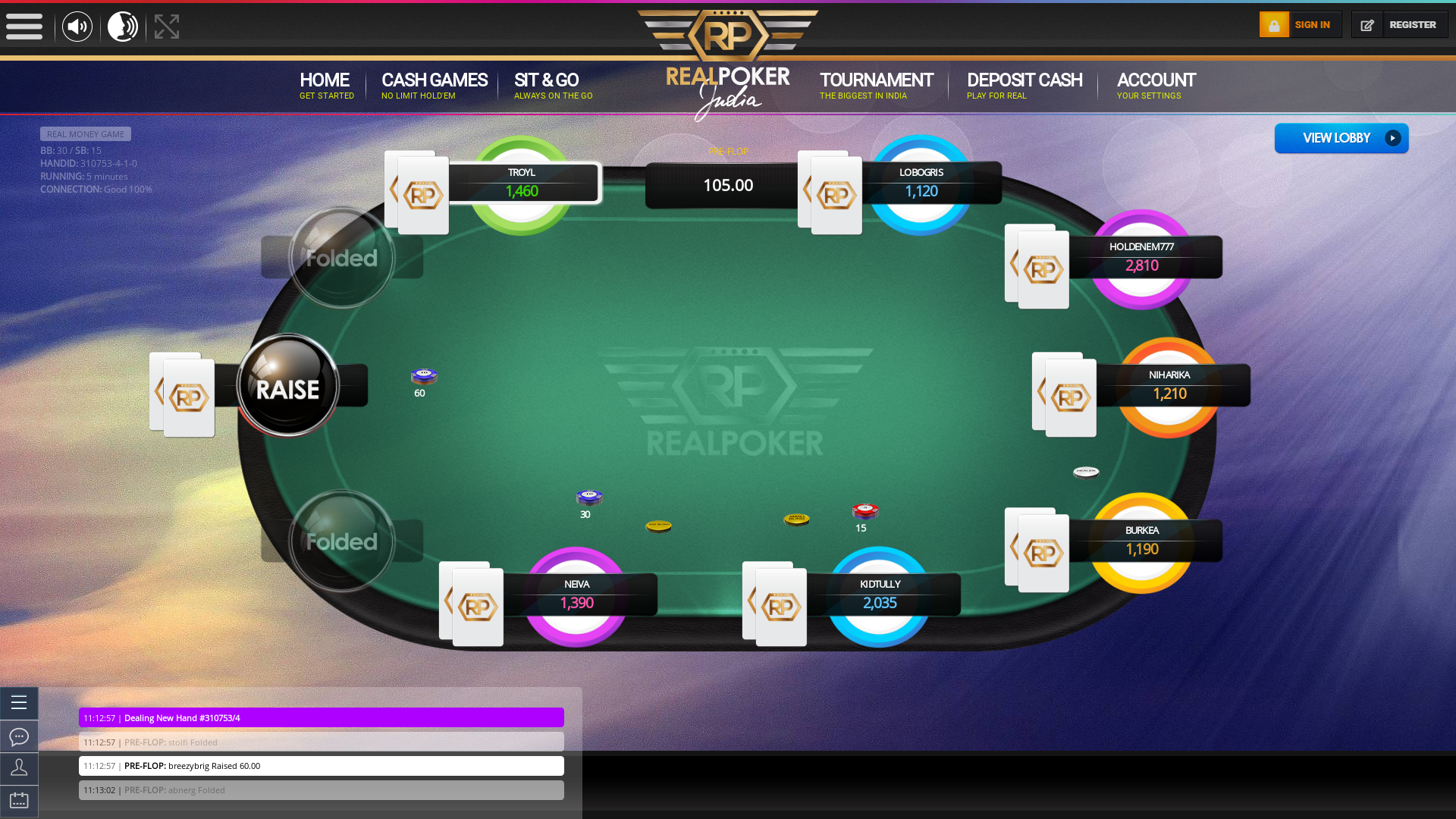 10 player texas holdem table at real poker with the table id 310753
