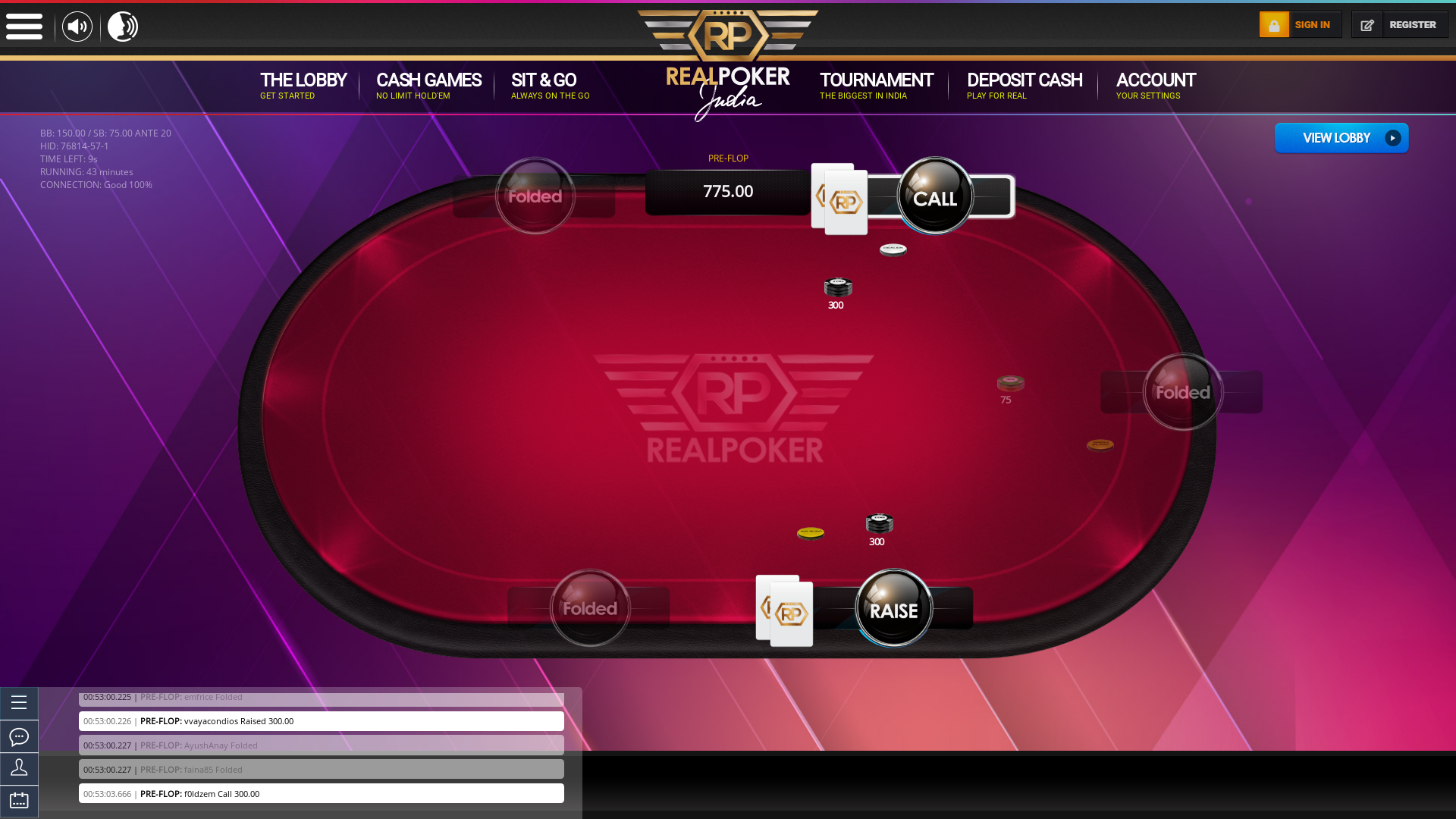 10 player texas holdem table at real poker with the table id 76814