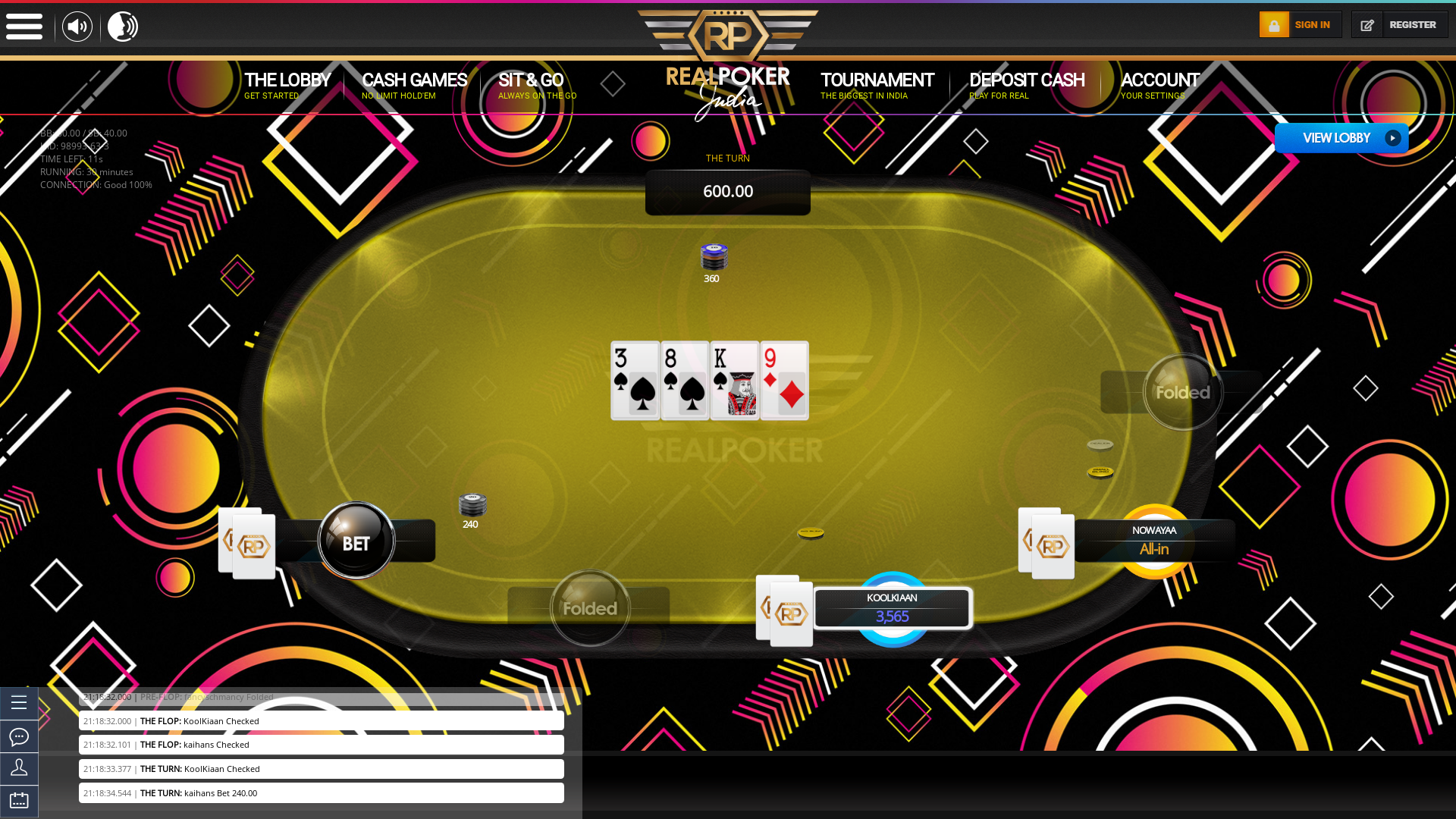 10 player texas holdem table at real poker with the table id 98993
