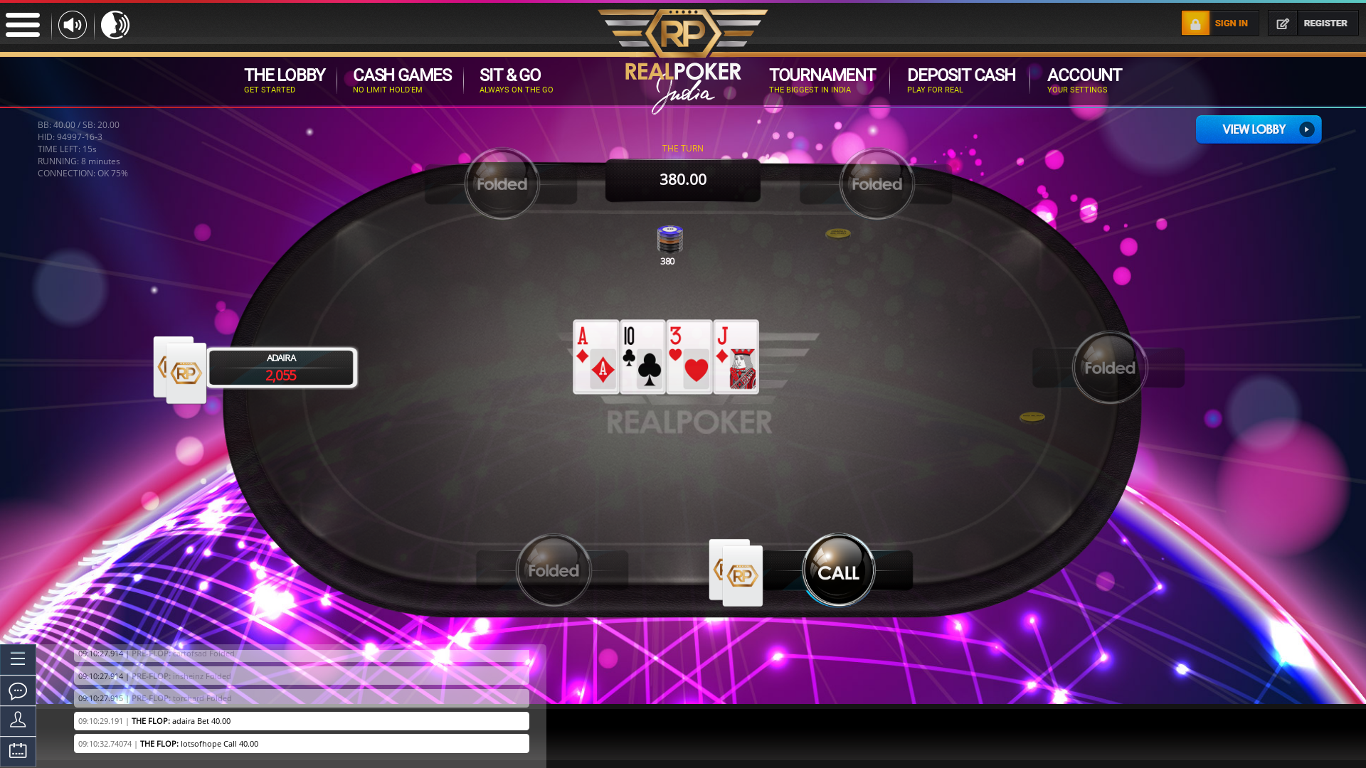 6 player texas holdem table at real poker with the table id 94997