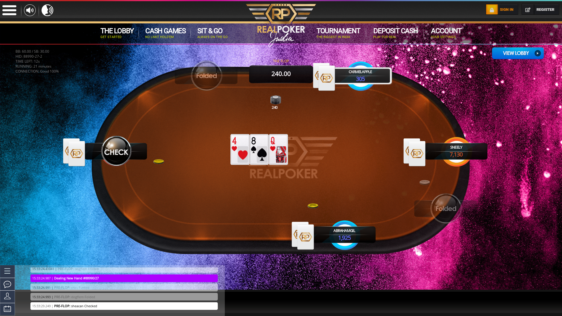 Texas Holdem Poker Online Room on the 5th July