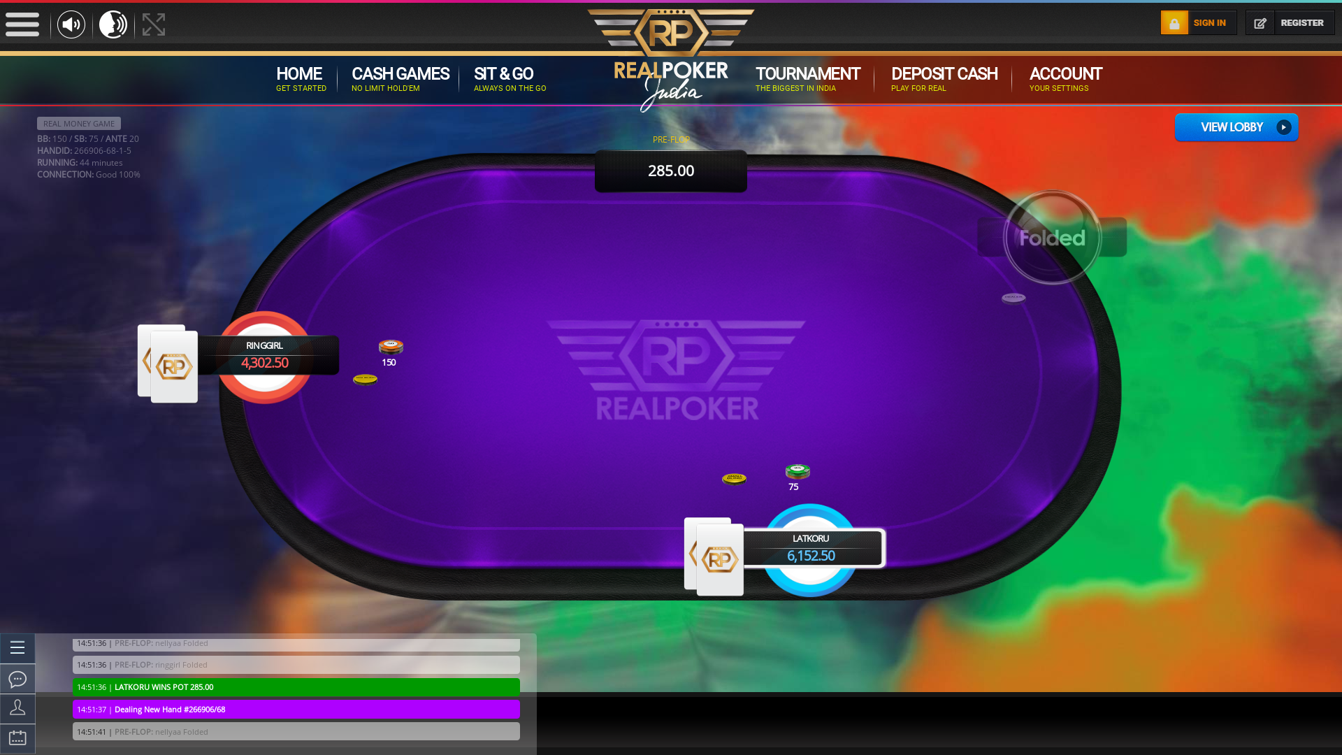 Chittaranjan Park, New Delhi online poker game on a 10 player table in the 44th minute of the match