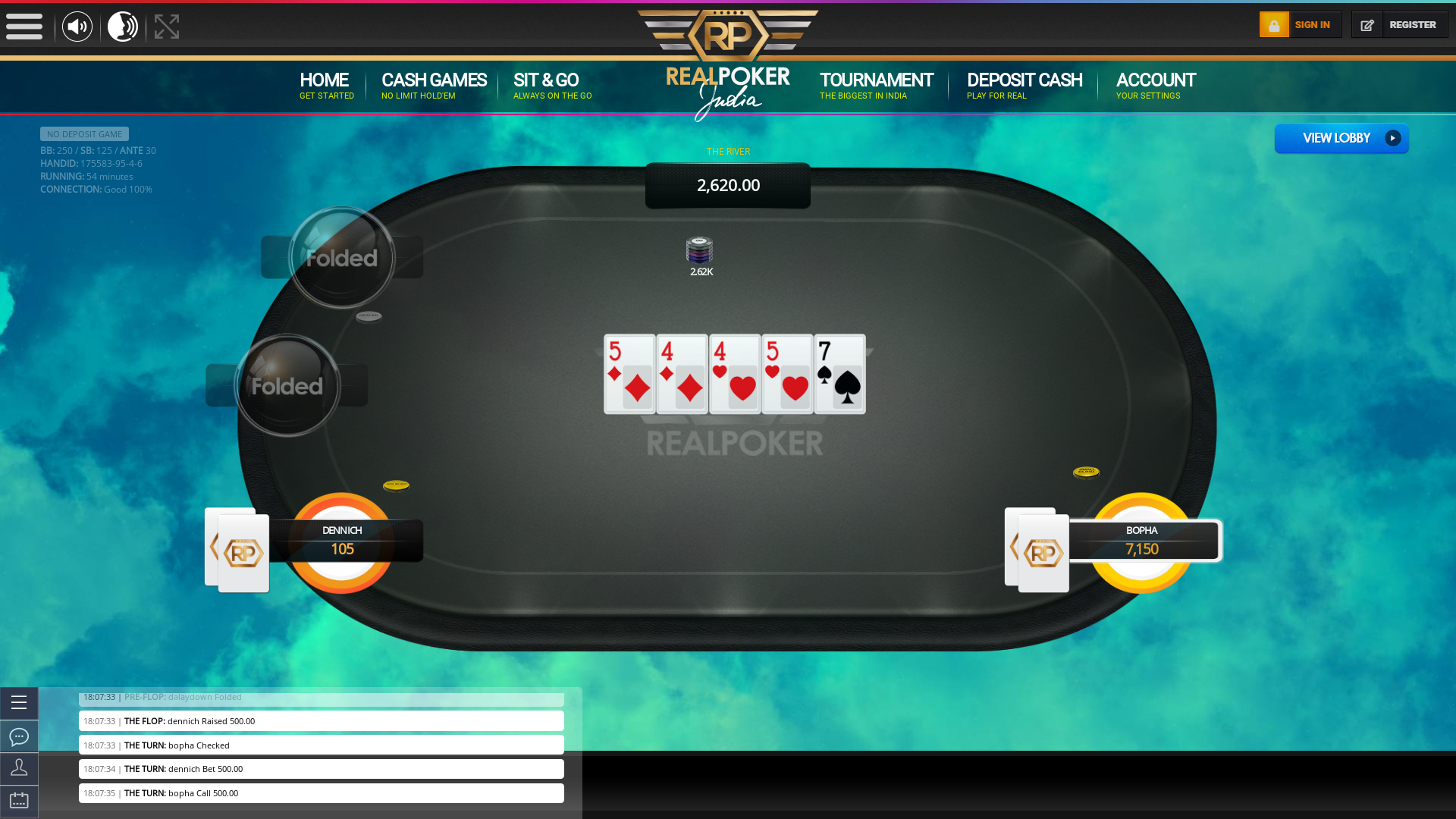 Defence Colony, New Delhi online poker game on a 10 player table in the 54th minute of the game