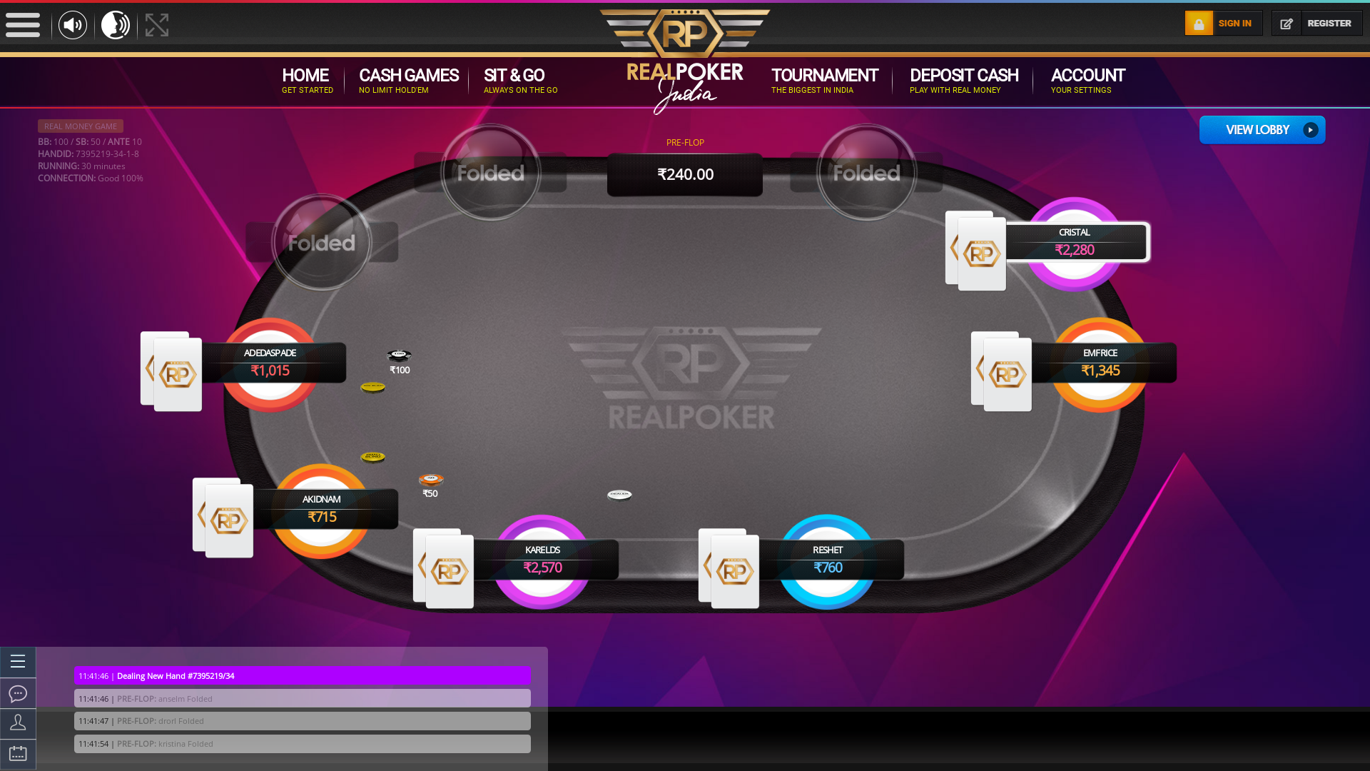 HSR Layout, Bangalore poker table on a 10 player table in the 30th minute of the game