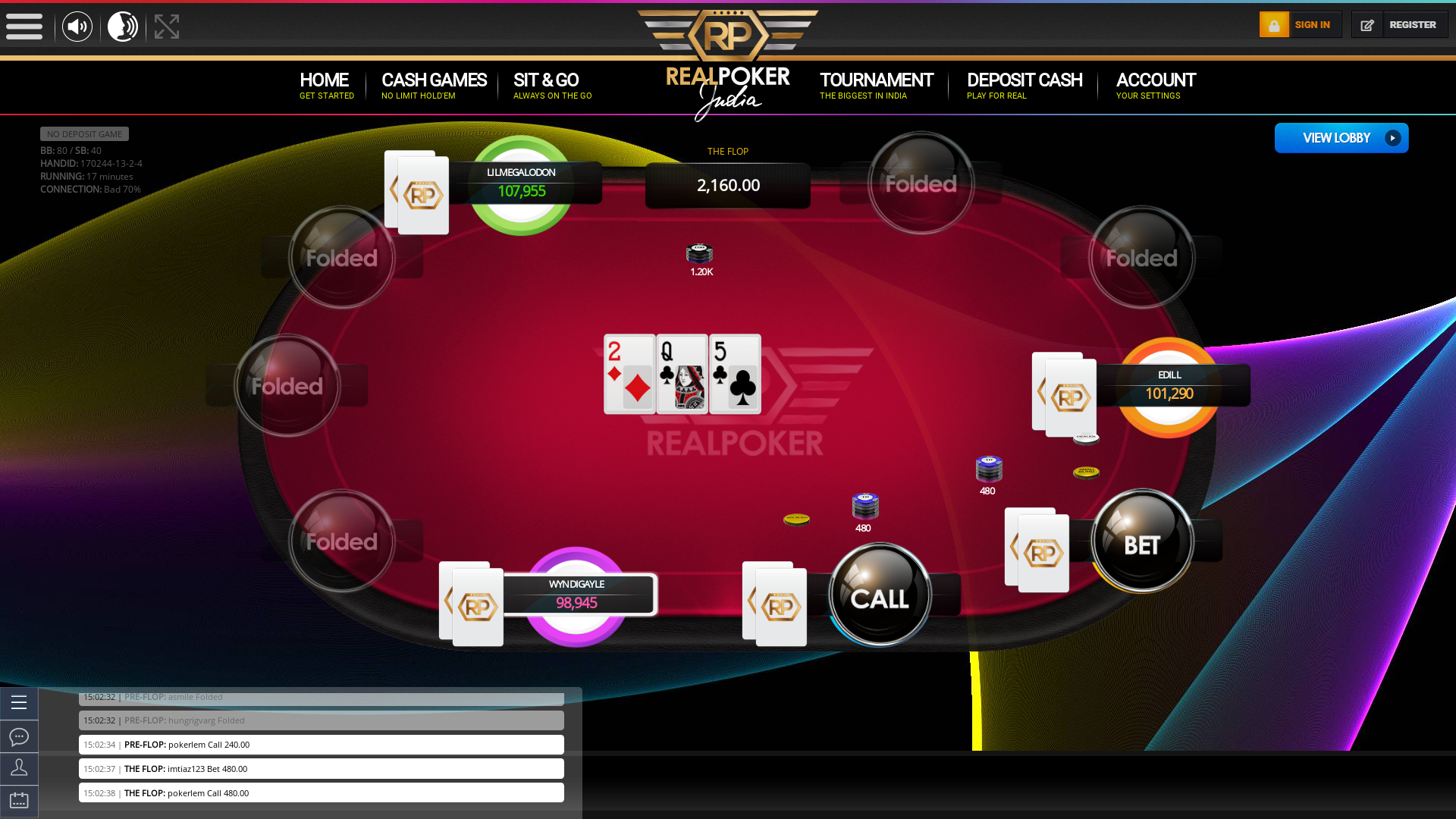 Indian 10 player poker in the 17th minute