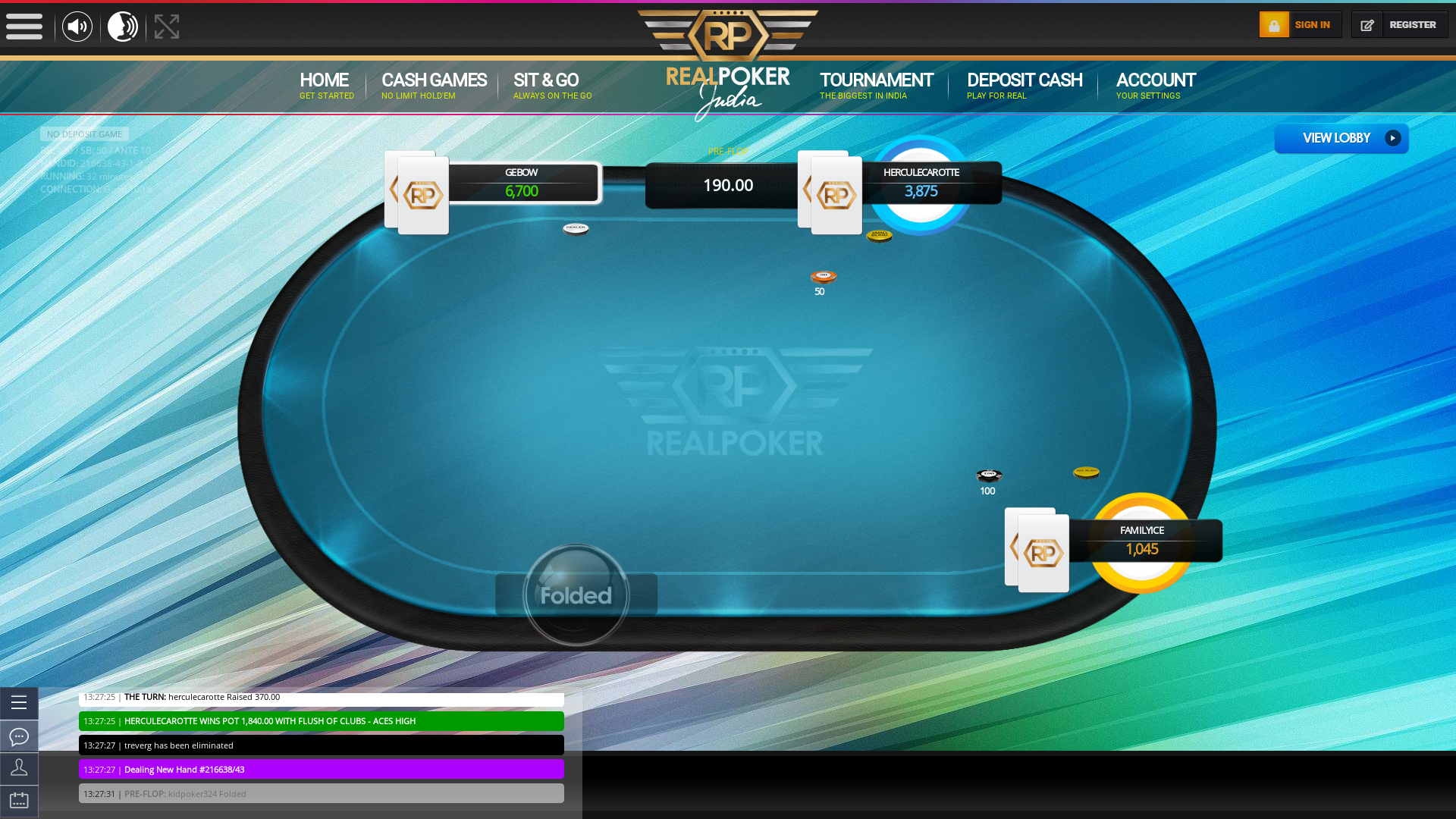 Indian 10 player poker in the 32nd minute