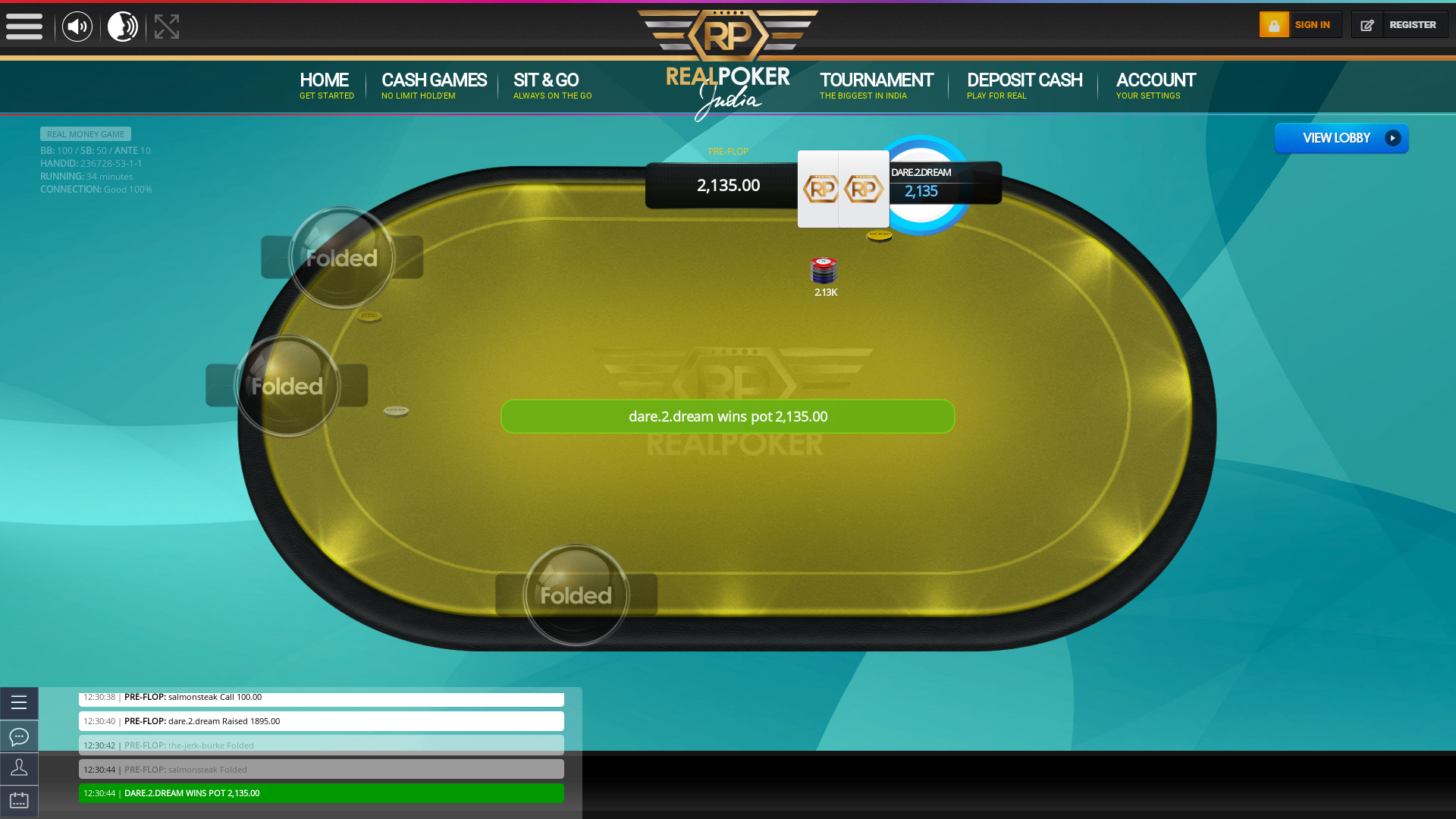 Indian 10 player poker in the 34th minute