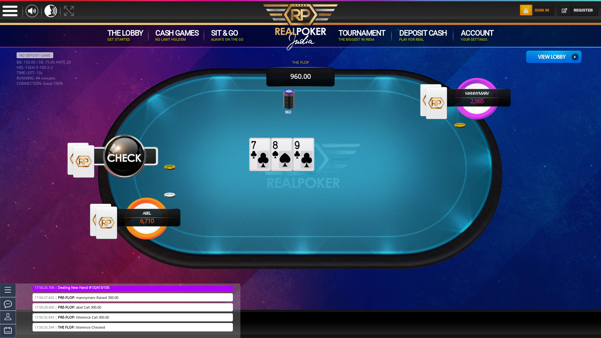 Indian 10 player poker in the 44th minute