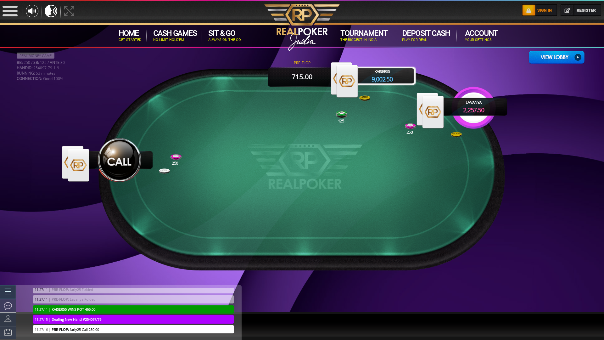 Indian 10 player poker in the 52nd minute