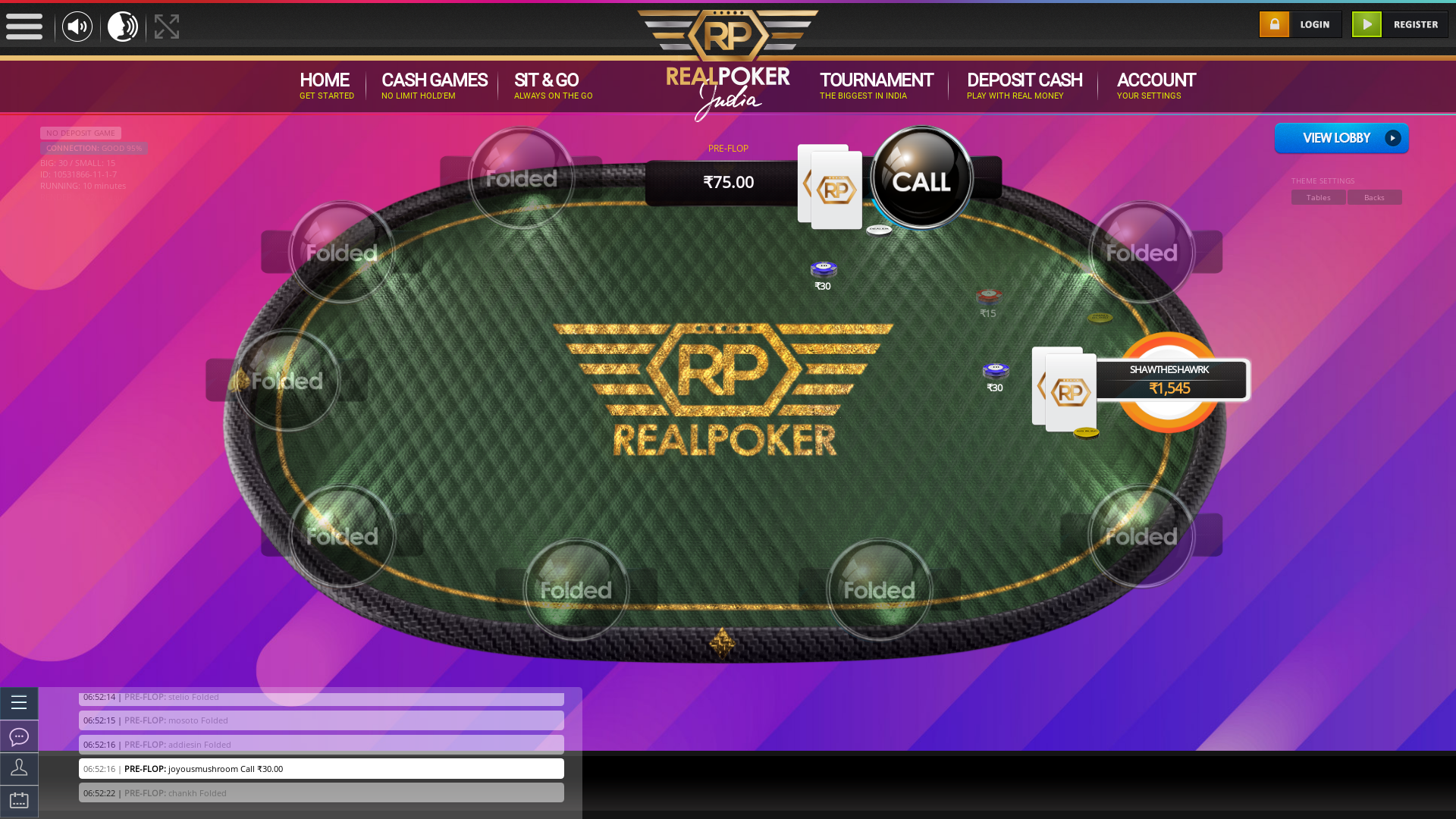indian online poker on a 10 player table in the 10th minute match up
