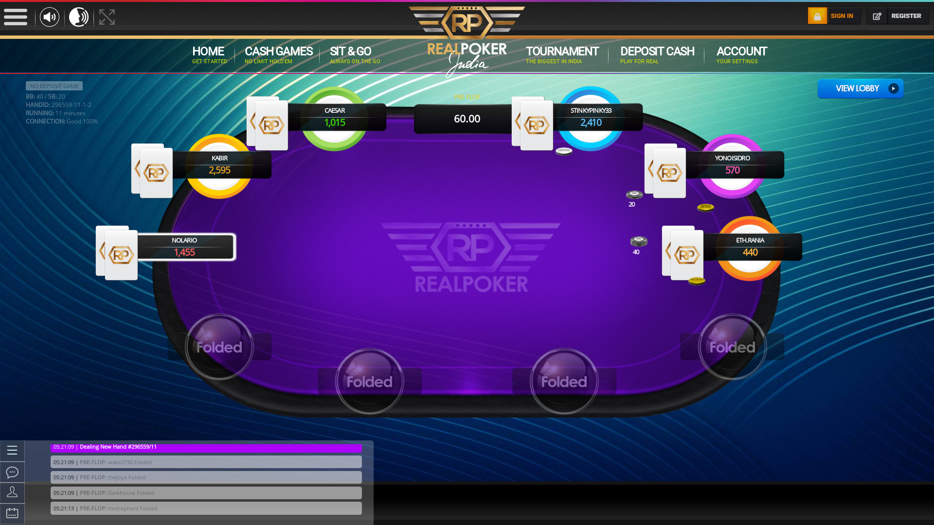 Indian online poker on a 10 player table in the 11th minute match up