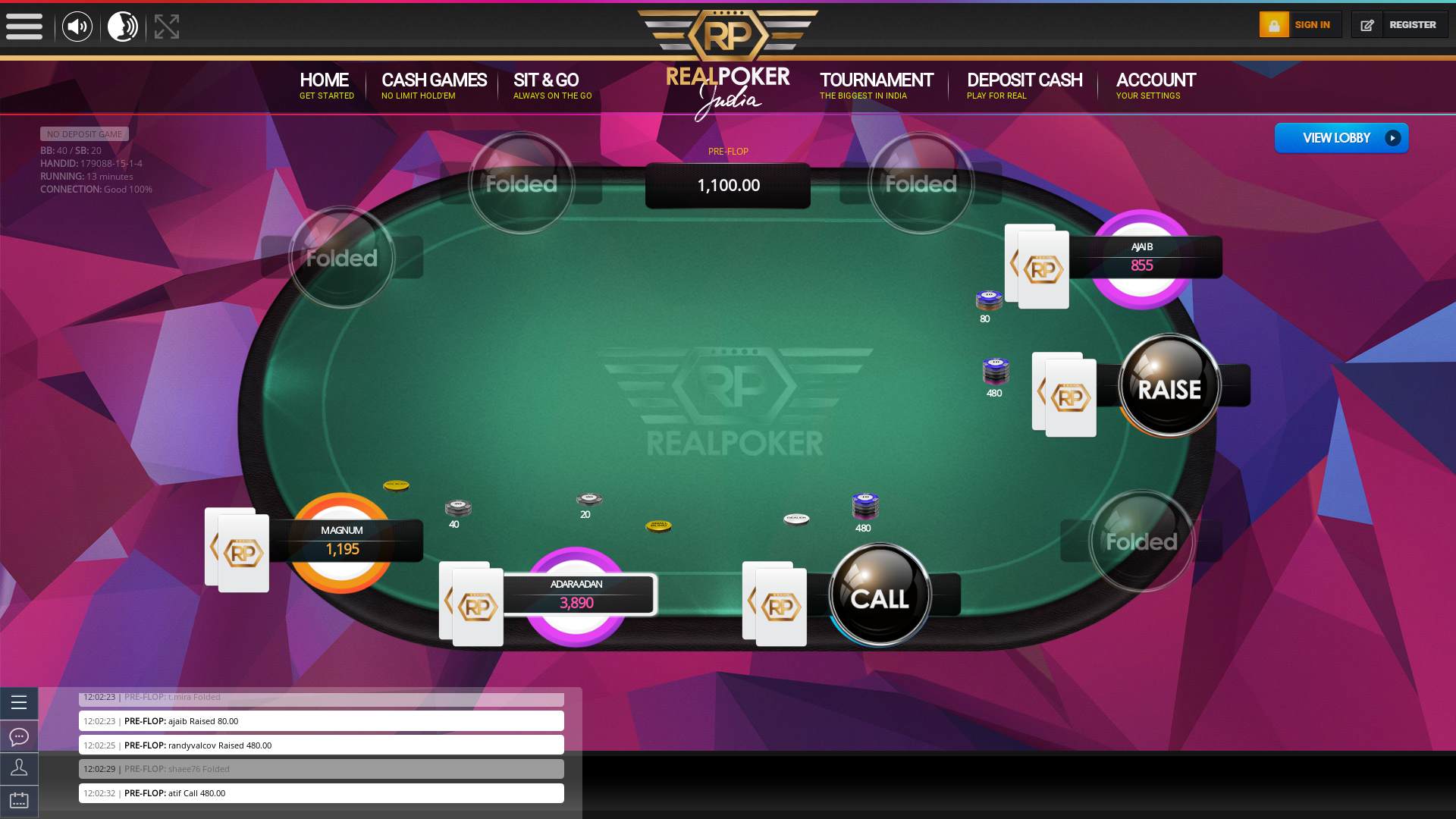 Indian online poker on a 10 player table in the 12th minute match up