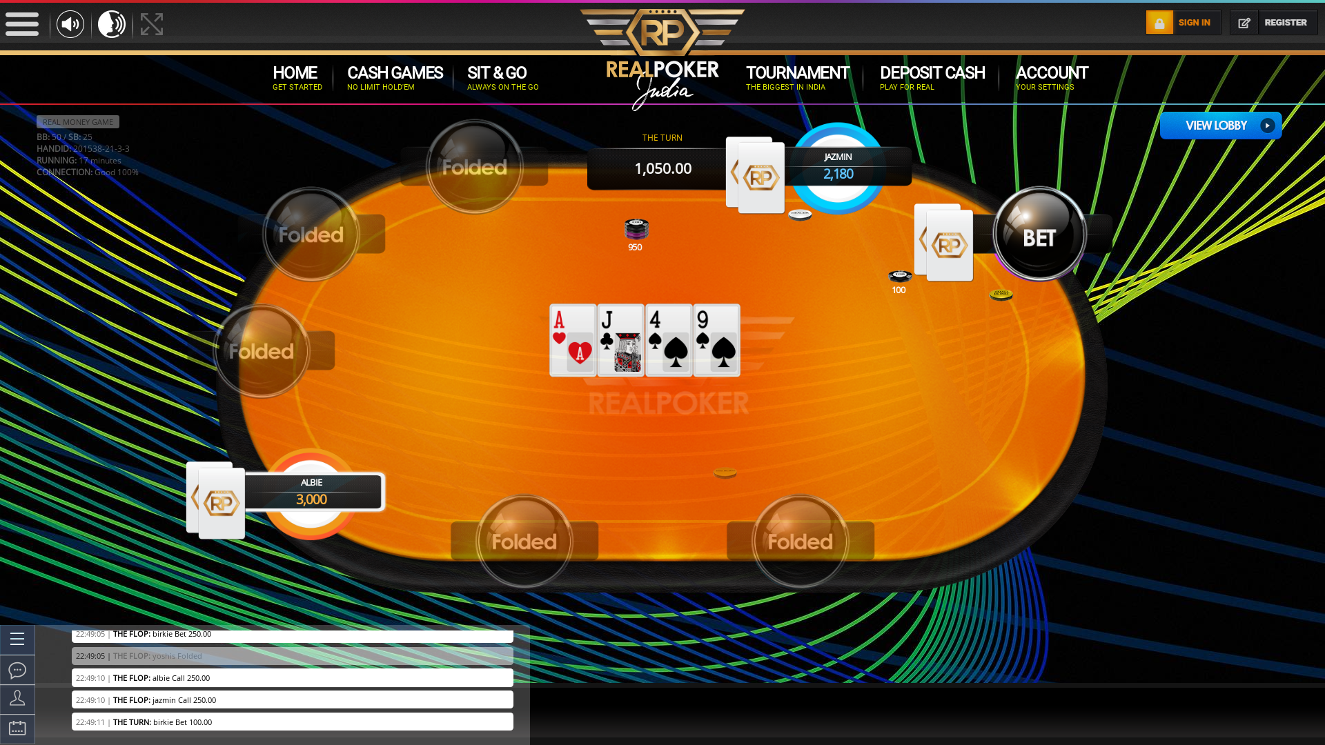 Indian online poker on a 10 player table in the 17th minute match up