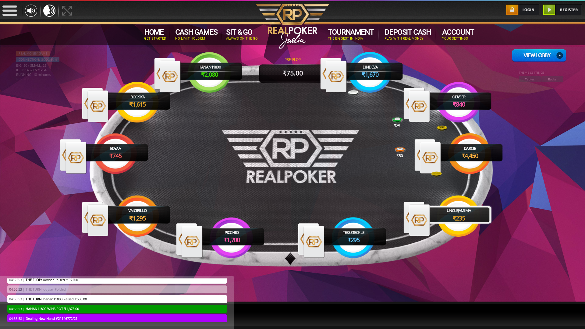 indian online poker on a 10 player table in the 18th minute match up