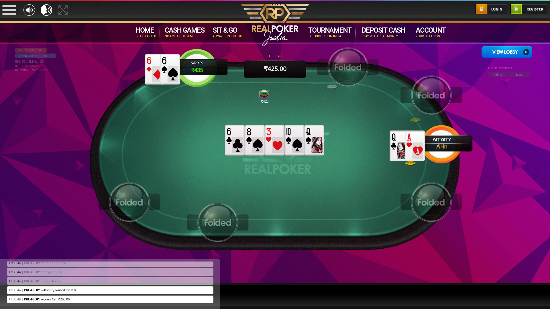 indian online poker on a 10 player table in the 19th minute match up
