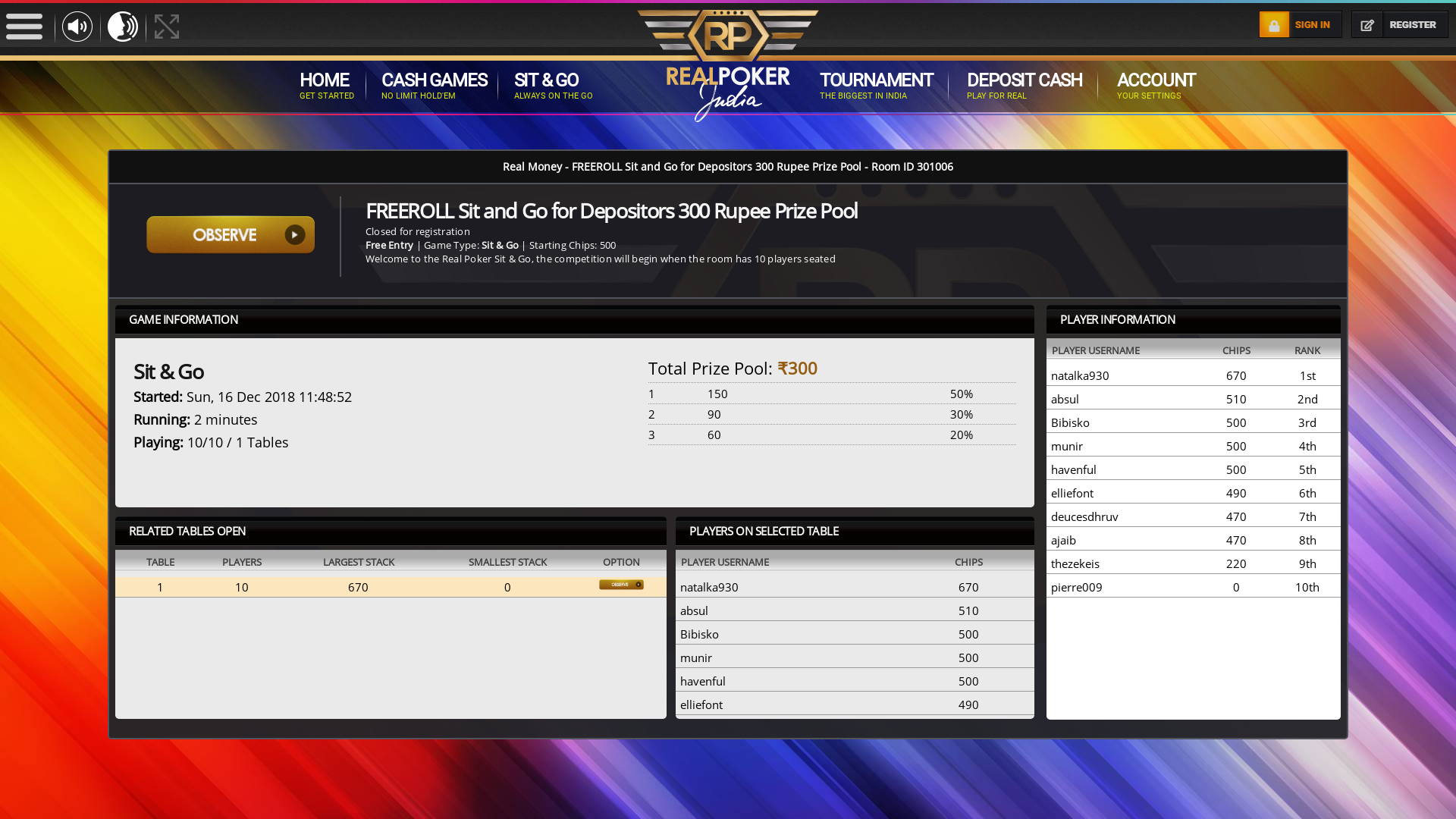 Indian online poker on a 10 player table in the 1st minute match up