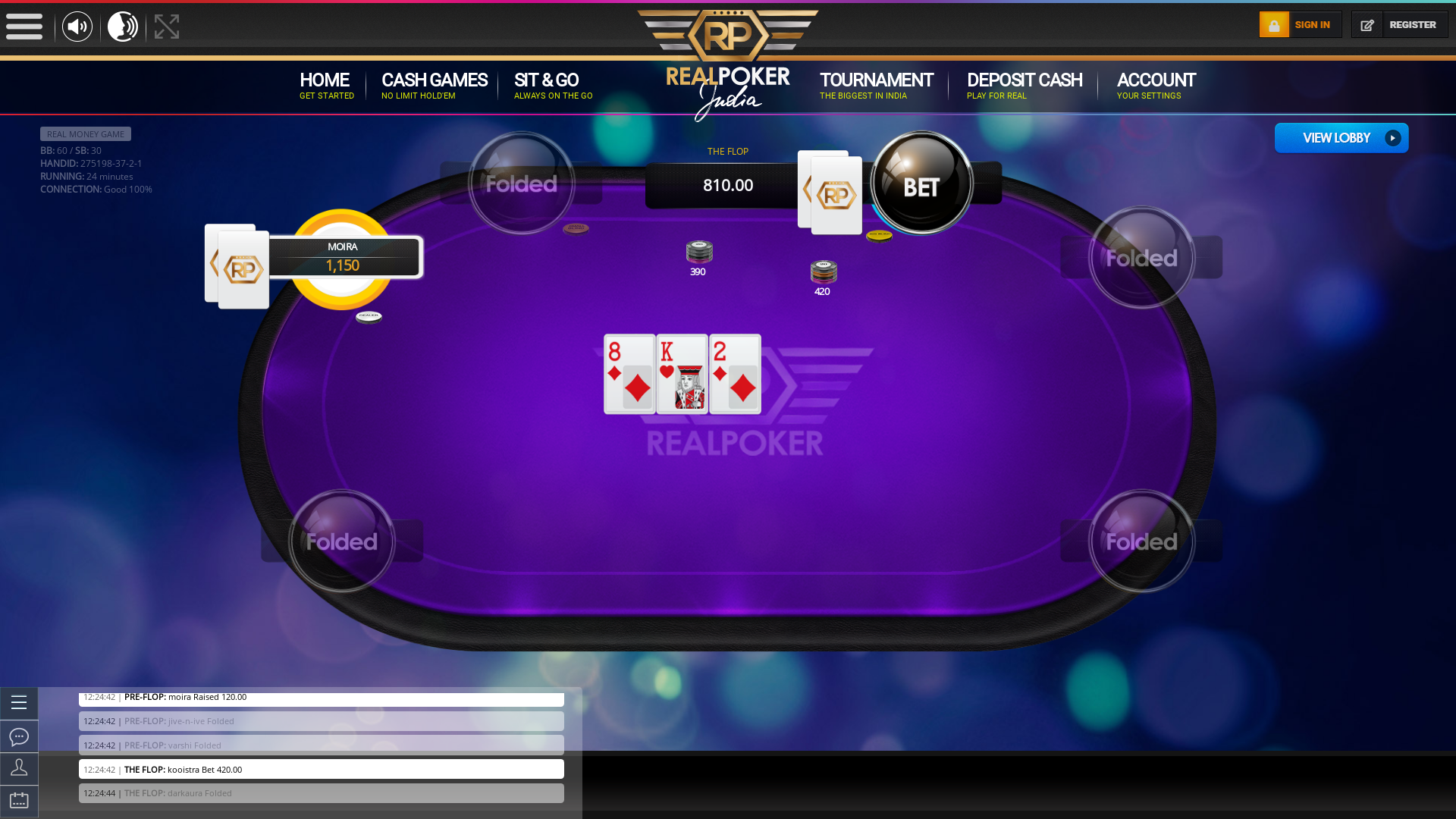 Indian online poker on a 10 player table in the 23rd minute match up