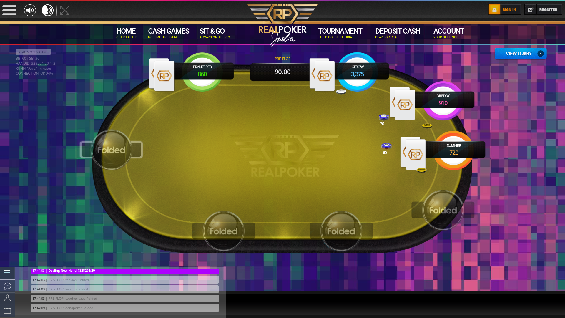 Indian online poker on a 10 player table in the 24th minute match up