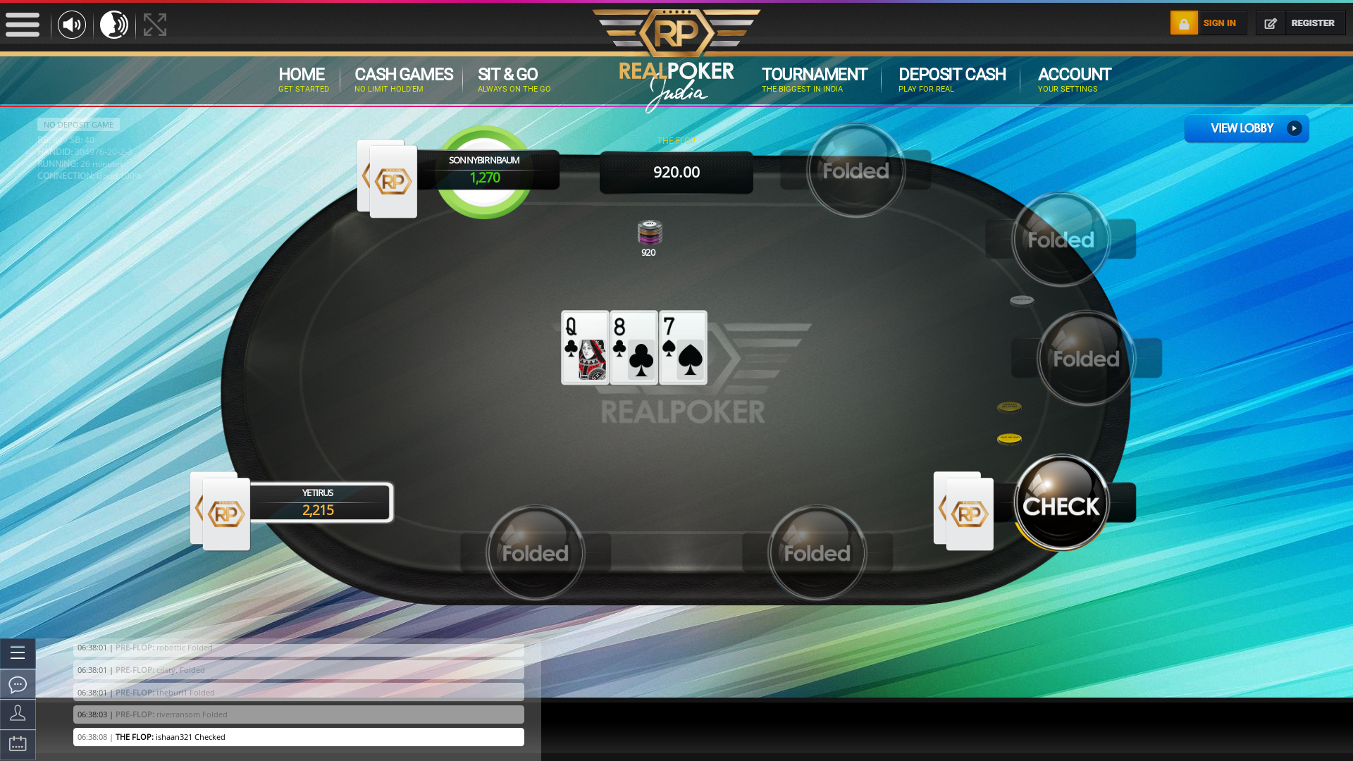 Indian online poker on a 10 player table in the 26th minute match up