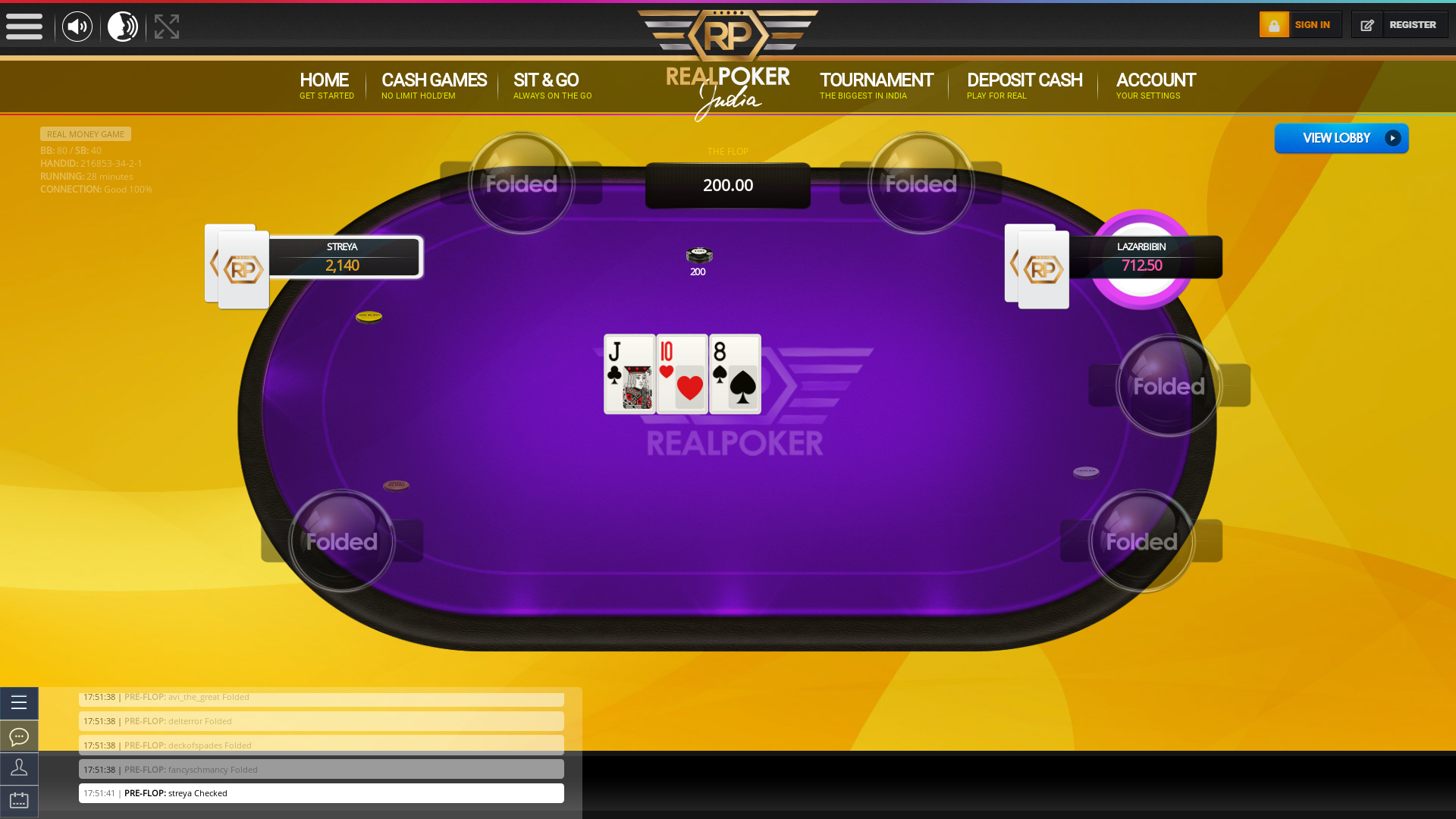Indian online poker on a 10 player table in the 28th minute match up