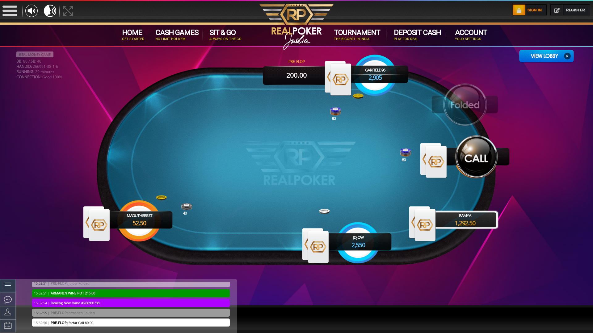 Indian online poker on a 10 player table in the 29th minute match up