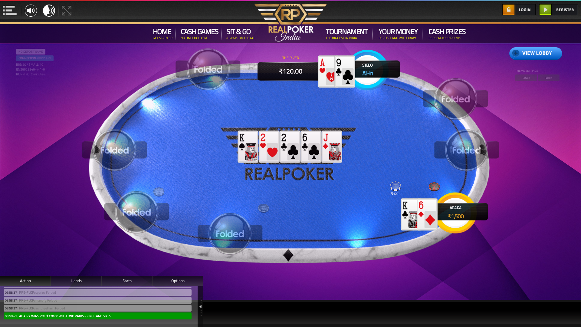 indian online poker on a 10 player table in the 2nd minute match up