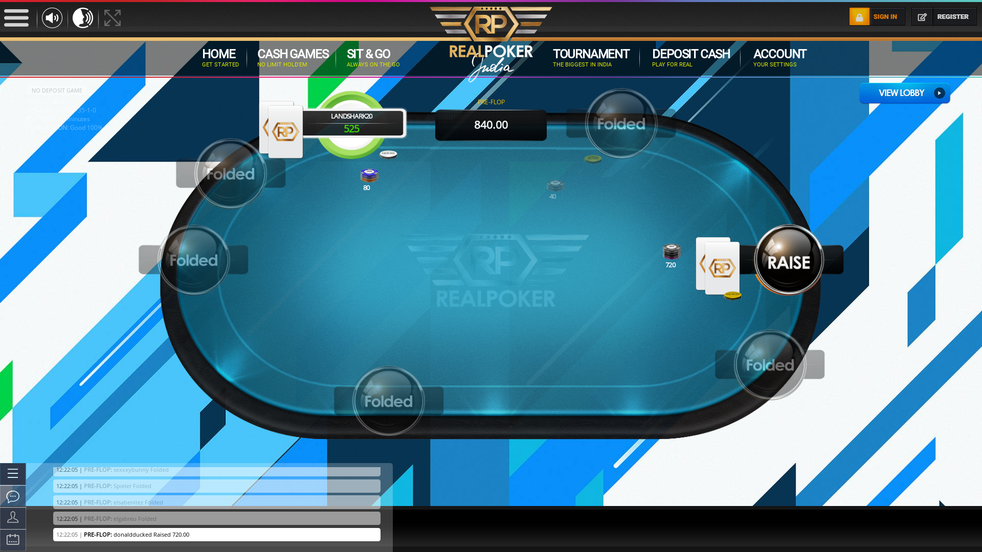 Indian online poker on a 10 player table in the 30th minute match up
